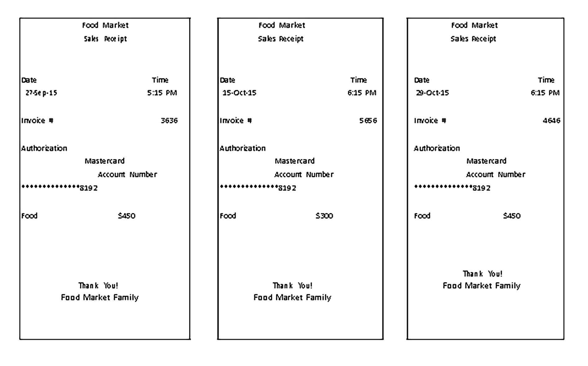 Sample Food Market Sales Receipt Templates