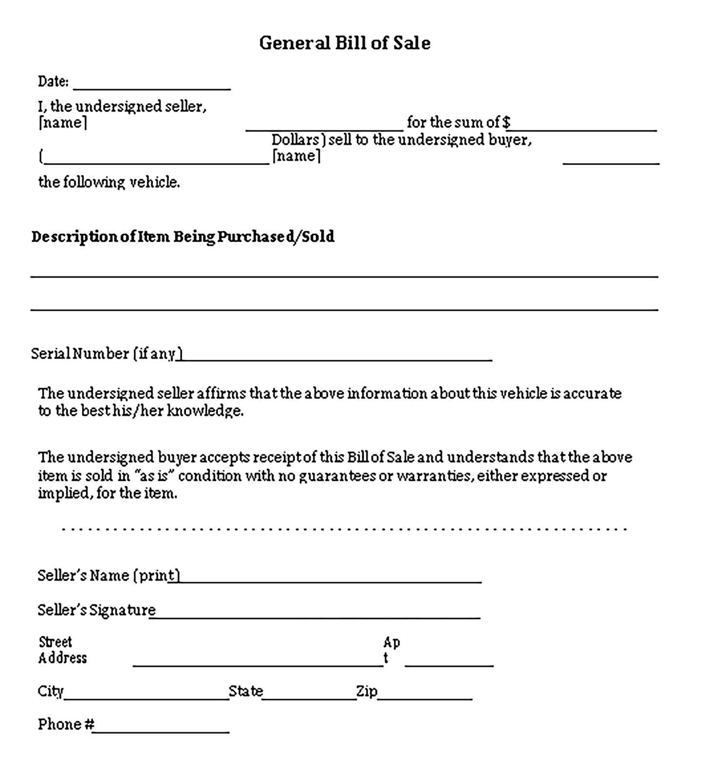 Sample General Vehicle Bill of Sale Templates