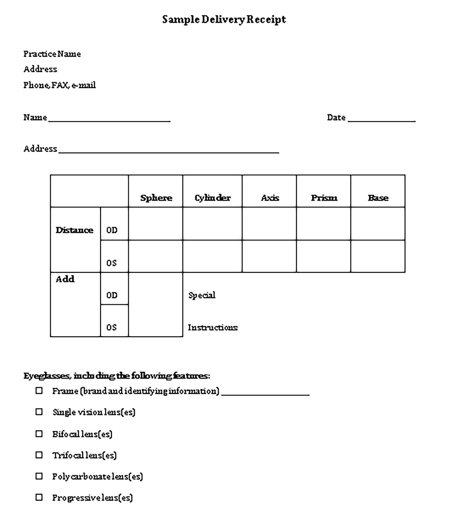 Sample Glasses Delivery Receipt Word 1 Templates