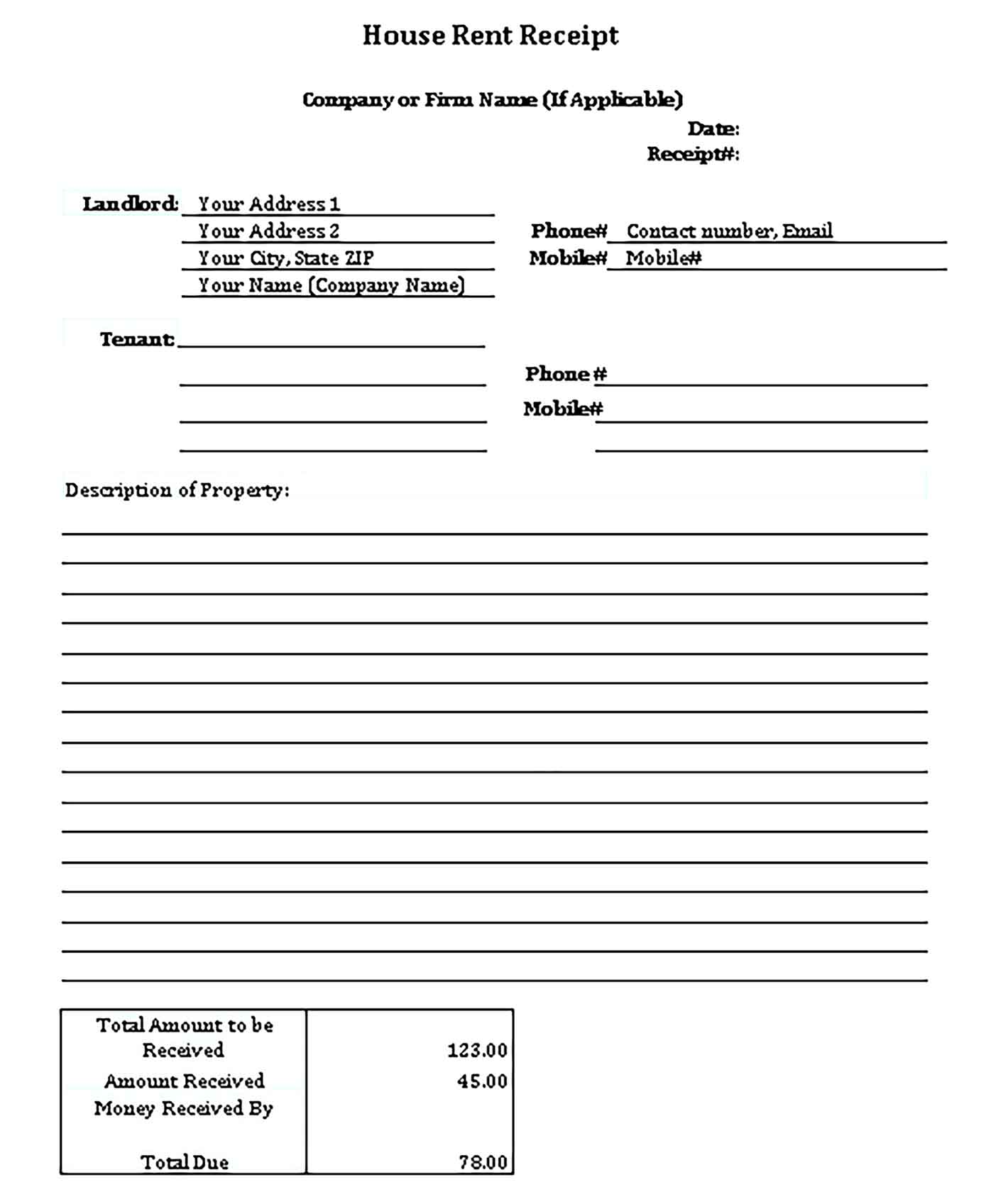 Sample House Rent Receipt Templates 1