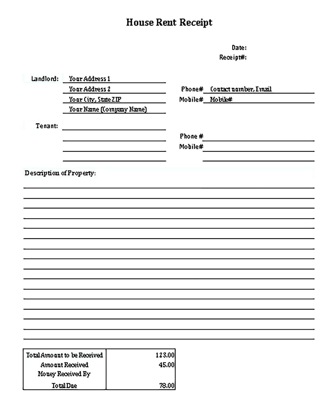 Sample House Rent Receipt Templates 2