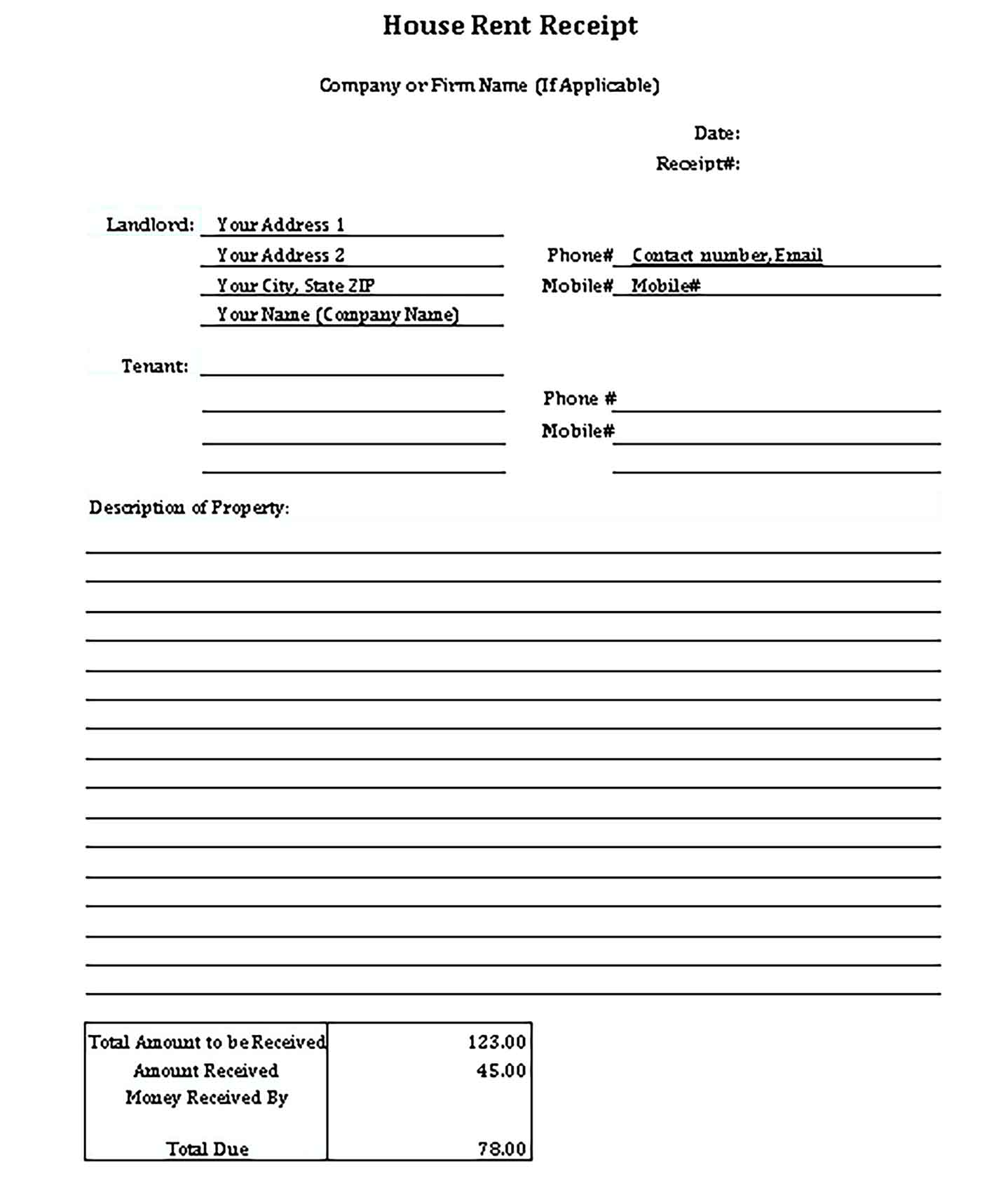 Sample House Rent Receipt Templates