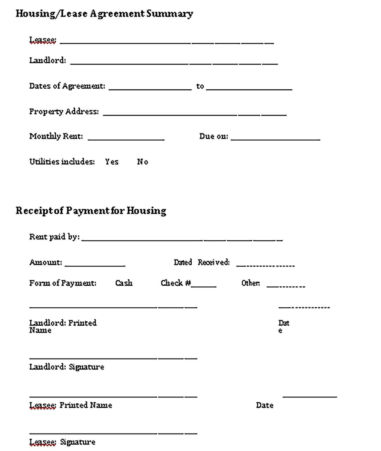 Sample Lease Payment Receipt Templates