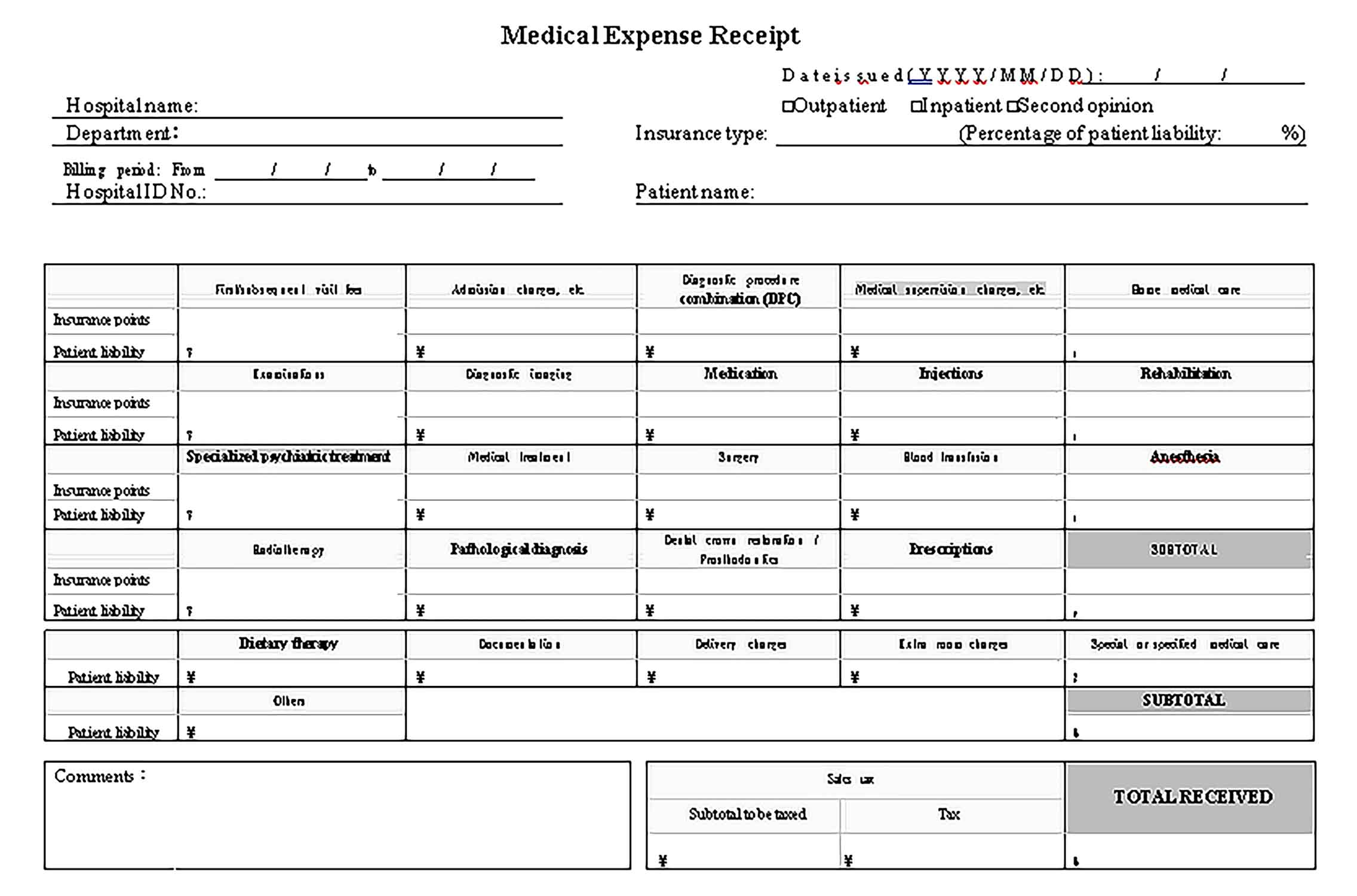 Sample Medical Expense Receipt Templates 1