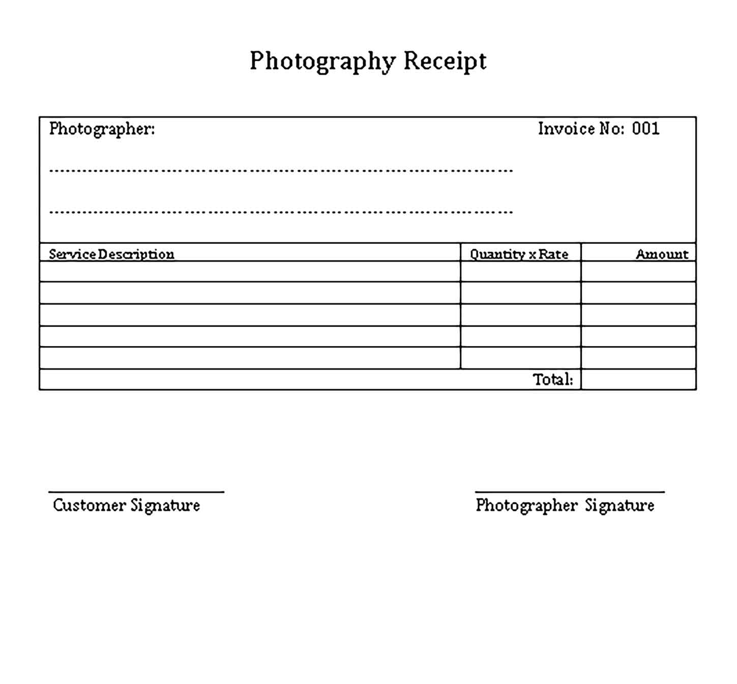 Sample Photography Service Templates