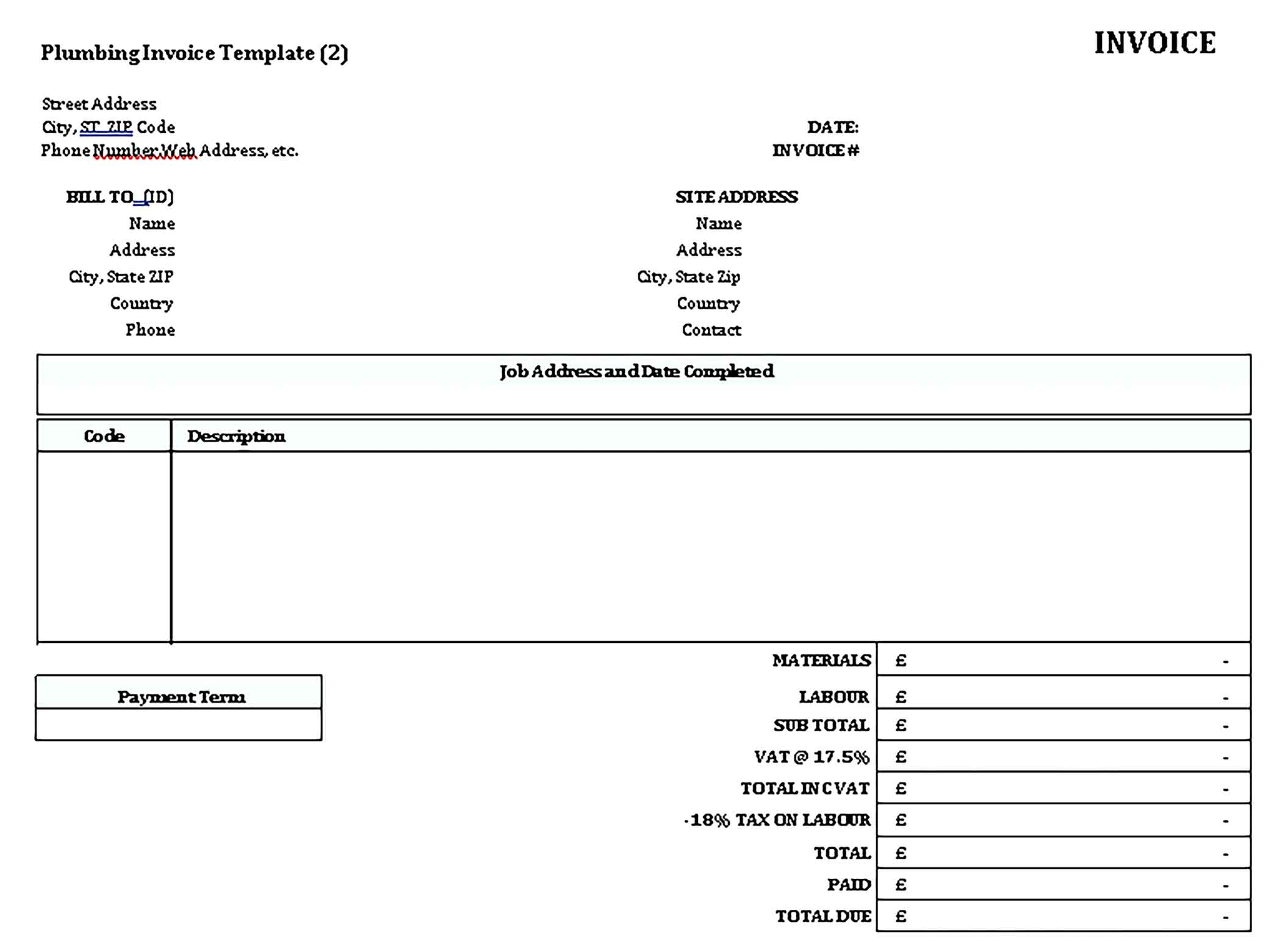 Sample Plumbing Contractor Receipt 1 Templates