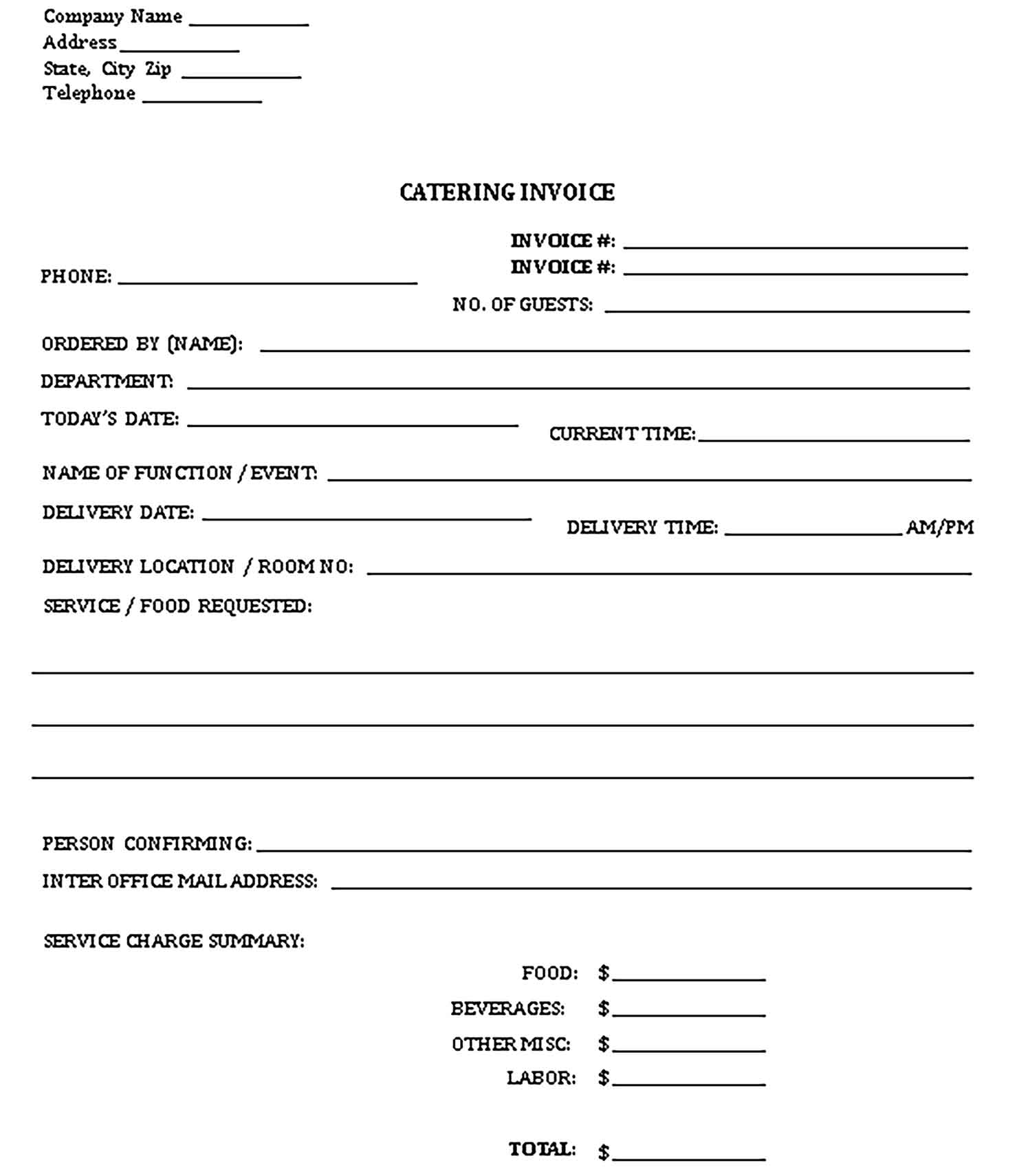 Sample Printable Catering Templates