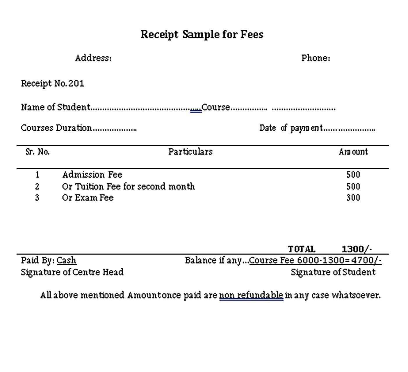 Sample Professional Fee Receipt Templates