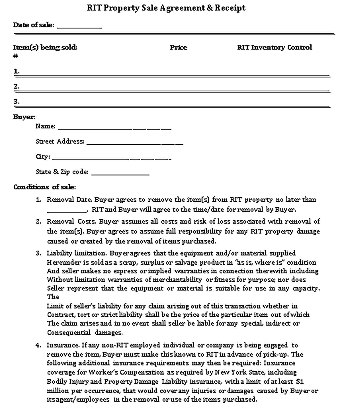 Sample Property Sale Agreement Receipt Templates