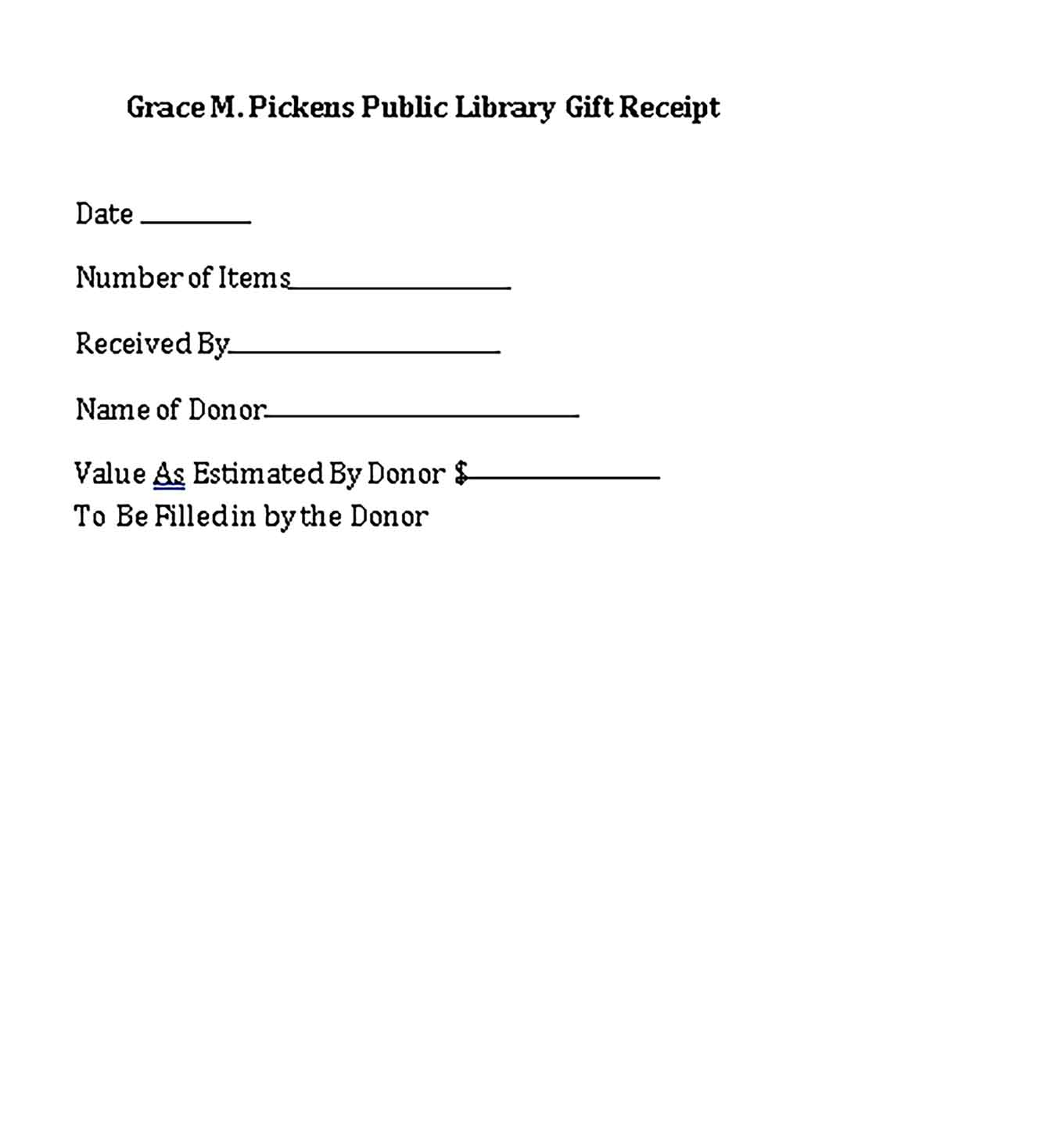 Sample Public Library Gift Templates
