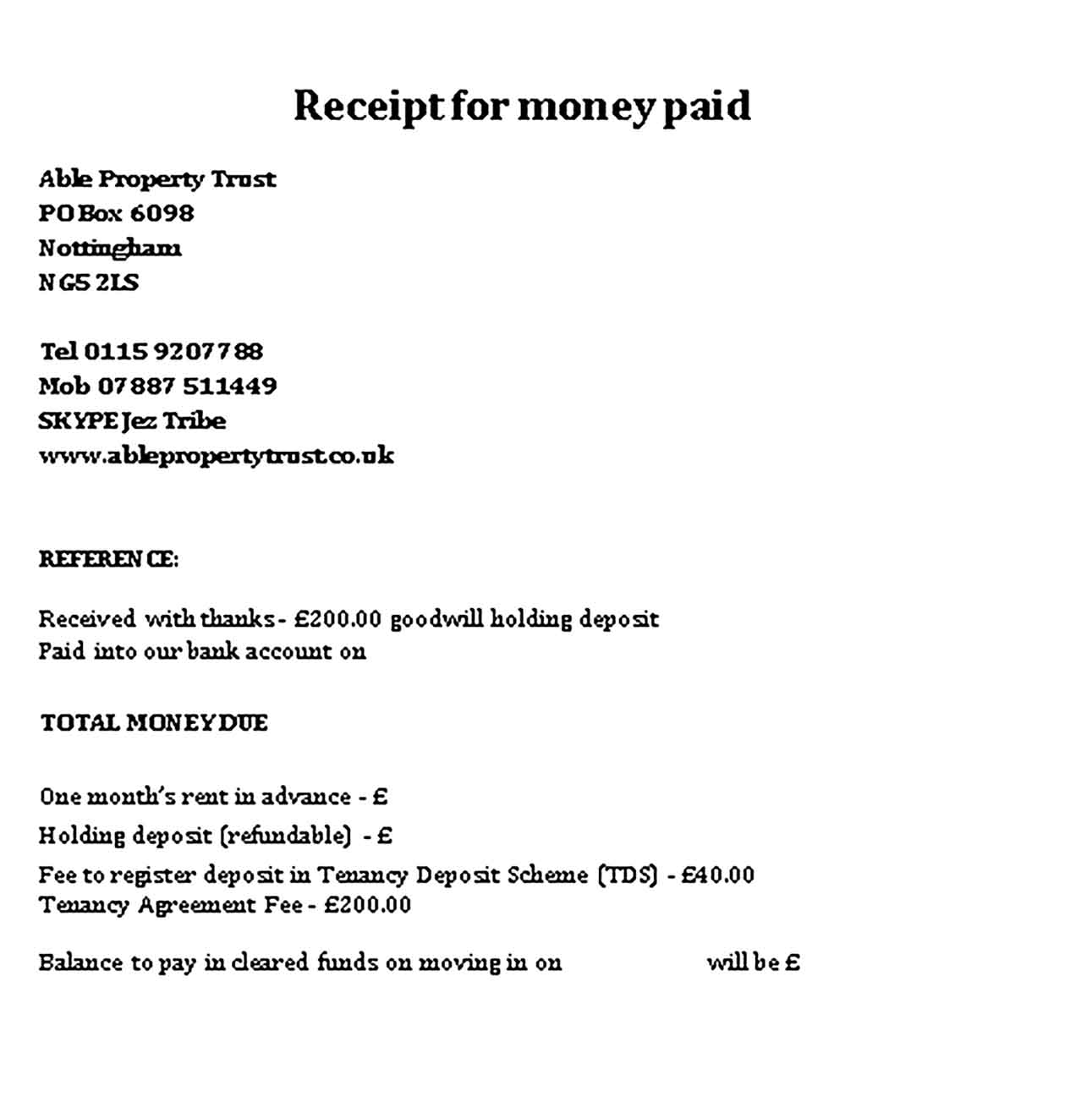Sample Receipt for Money Paid Templates