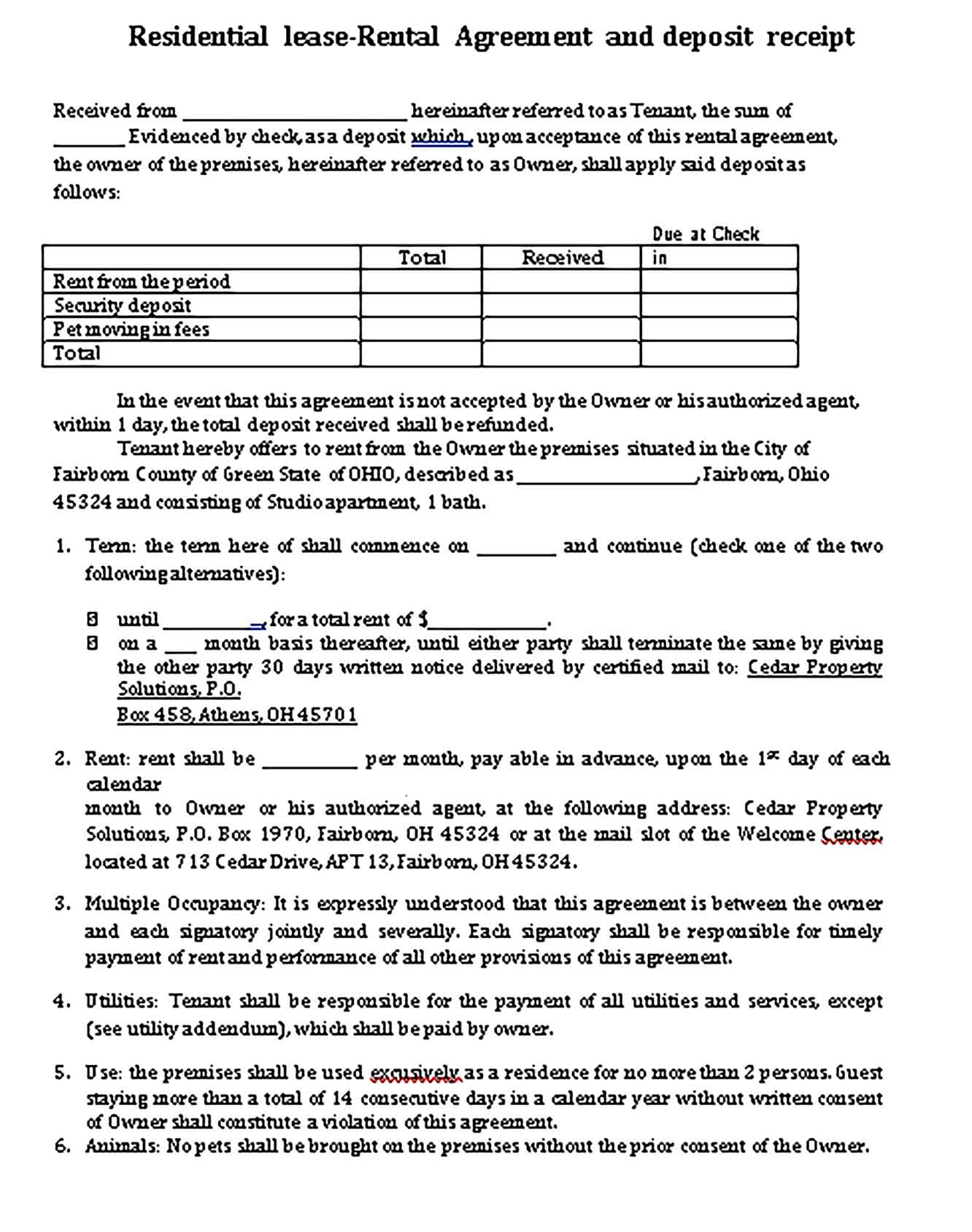 Sample Residential Lease Templates