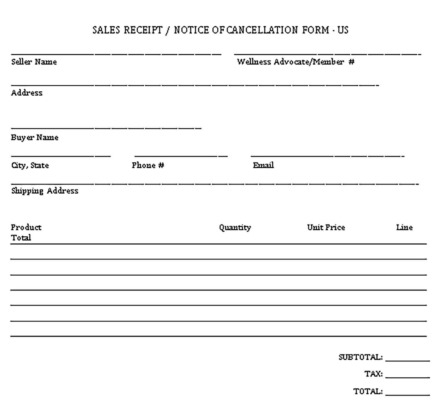 Sample Sale Receipt Notice of Cancellation Form Templates
