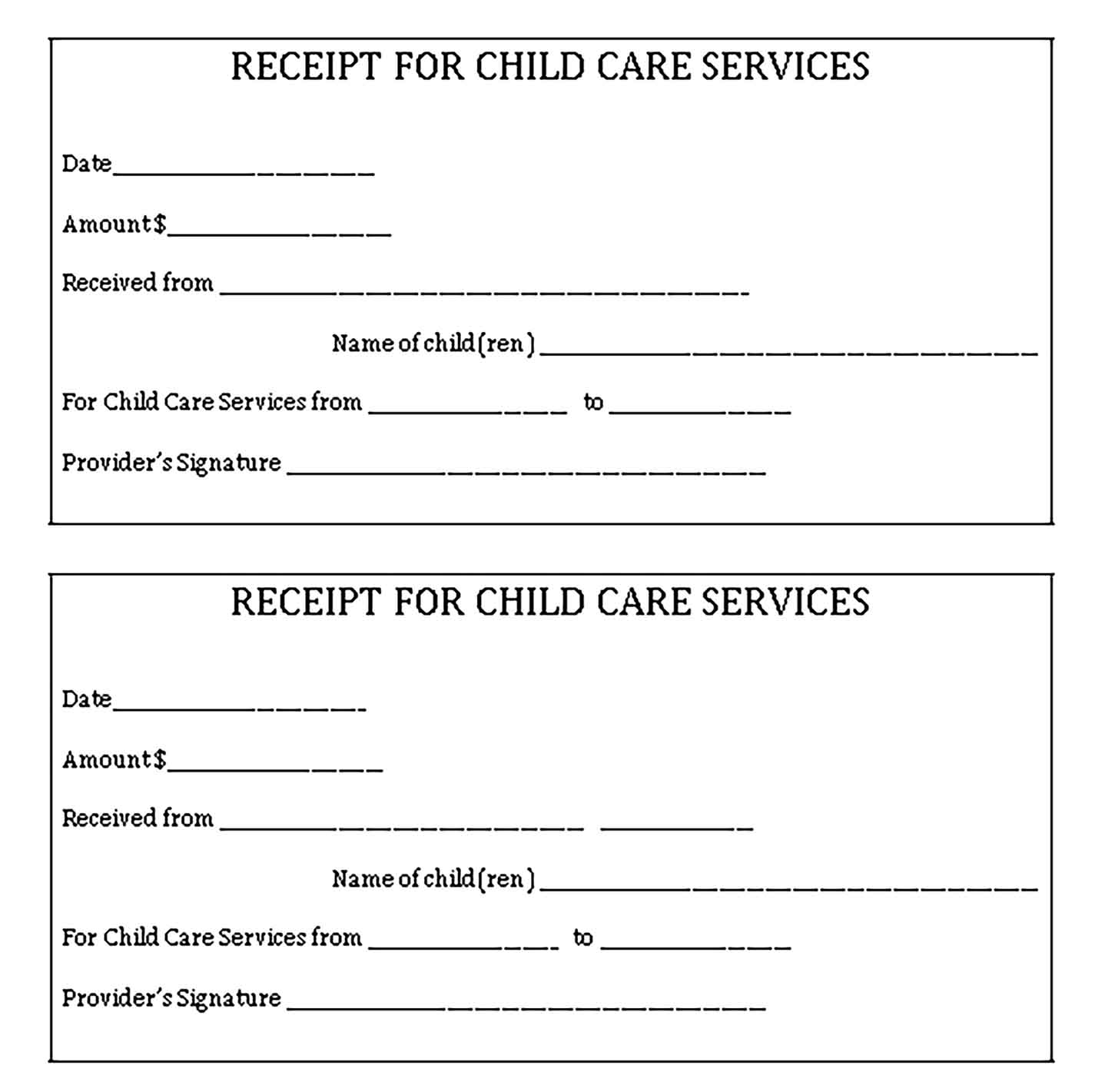 Sample Services Paid Receipt Templates