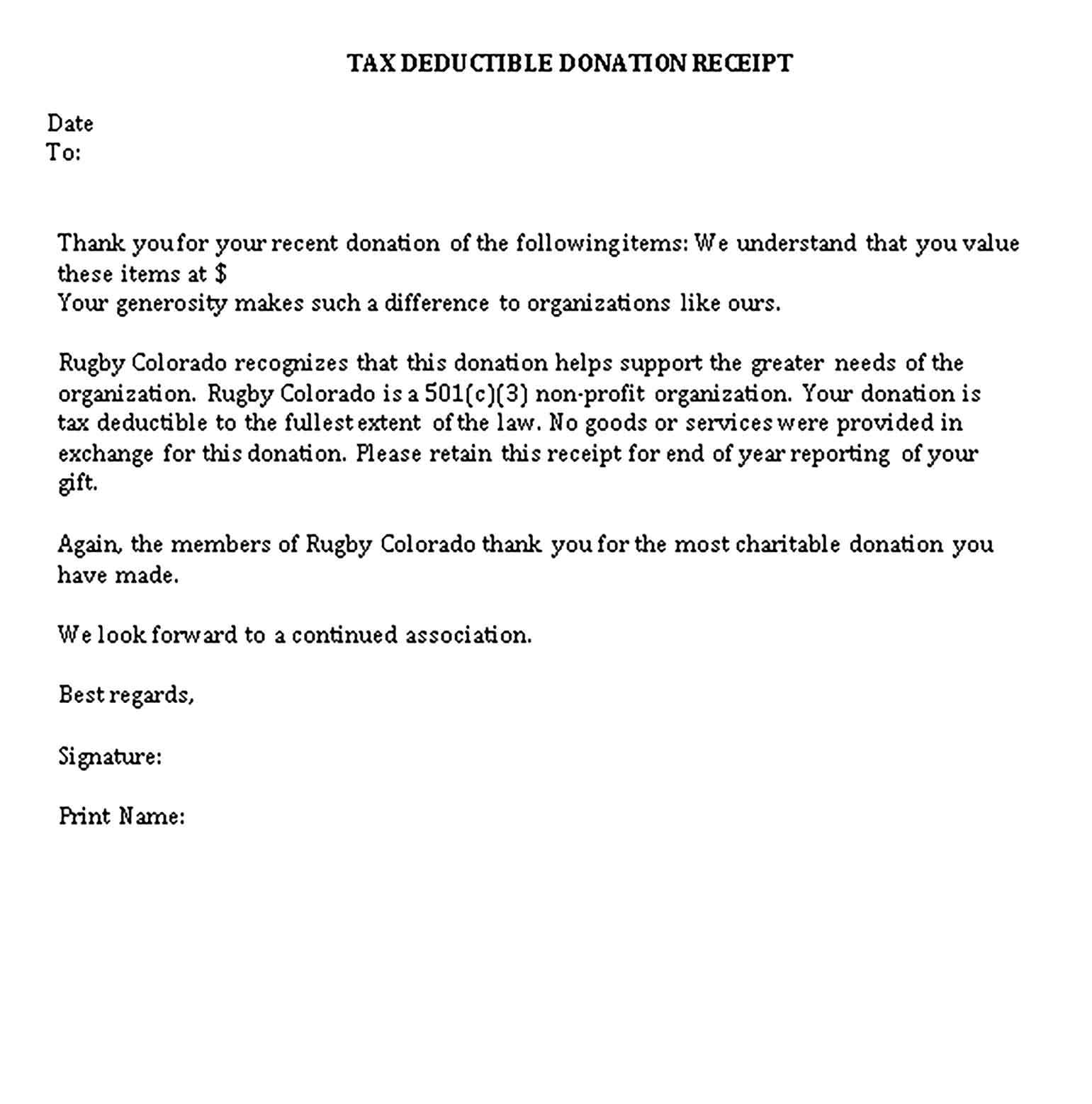 Sample Tax Deductible Donation Receipt MS Word 1 Templates
