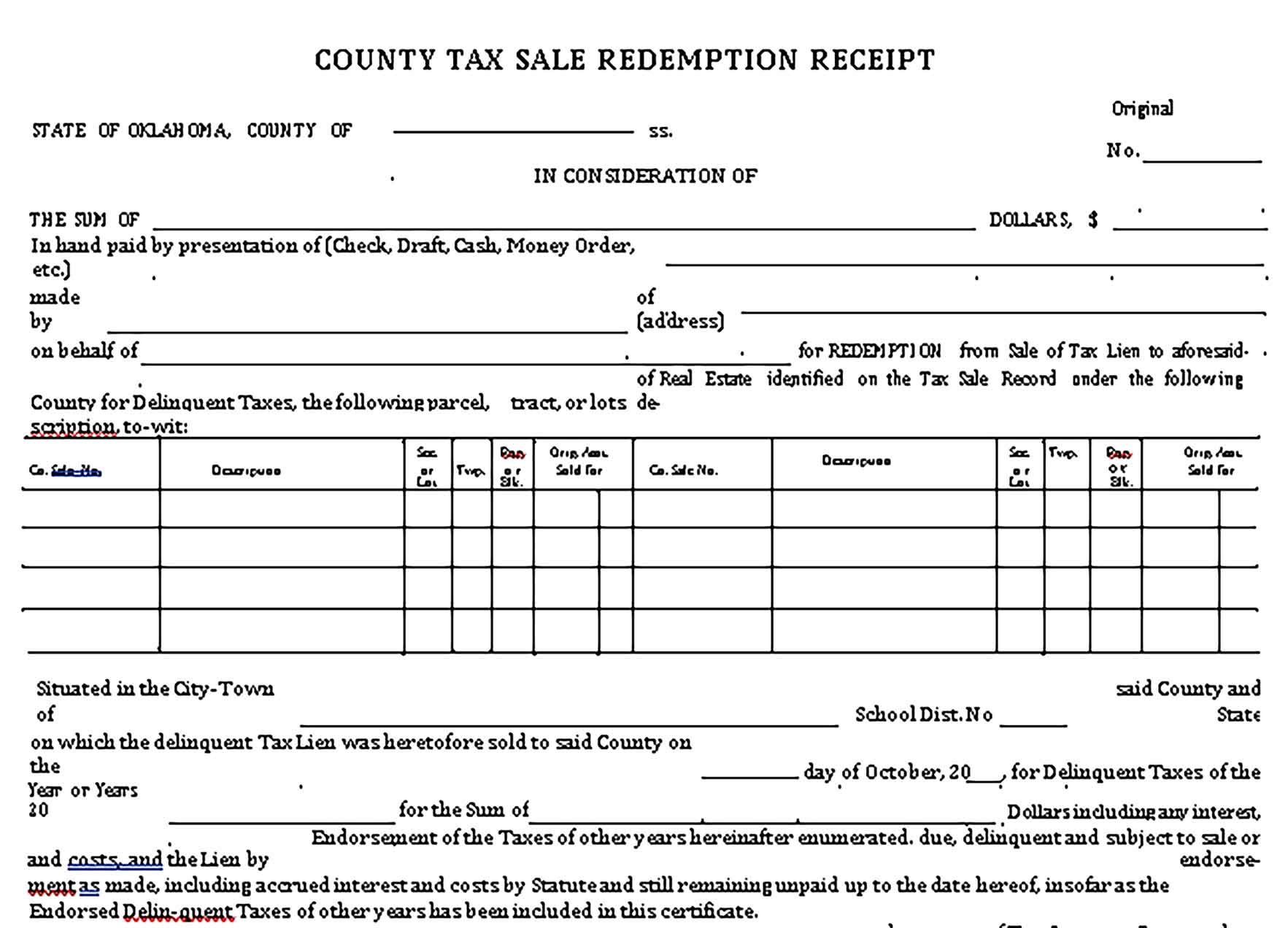 Sample Tax Sale Redemption Receipt Templates