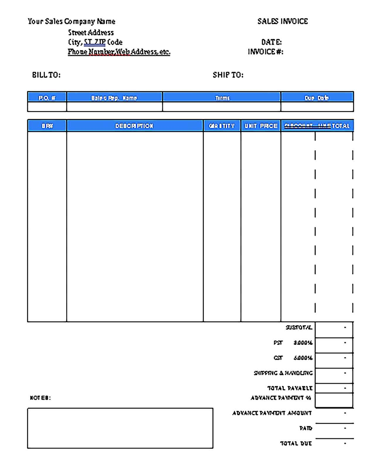 Sample Templates Advance Payment 1