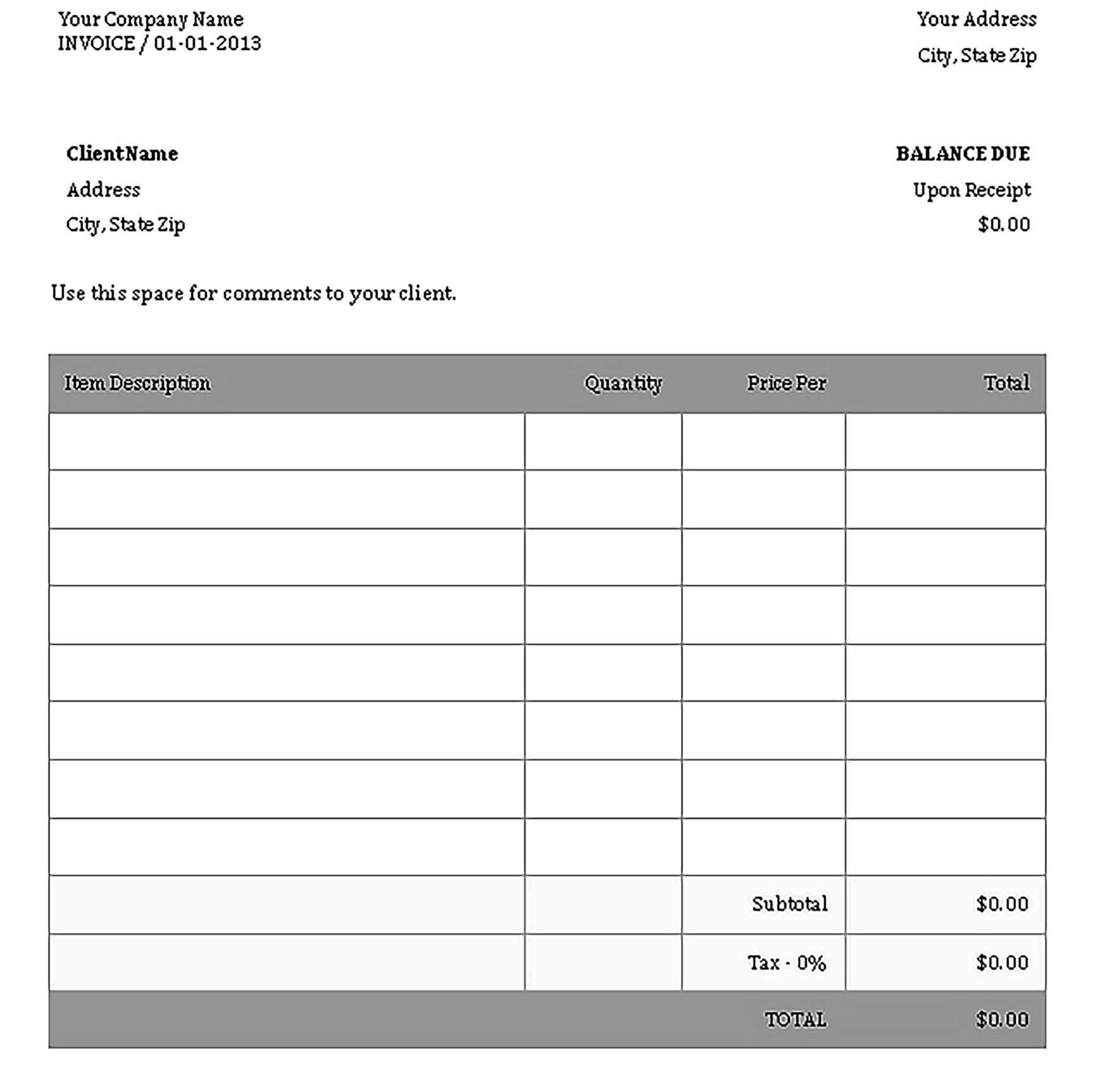Sample Templates Air Travel Agency Invoice