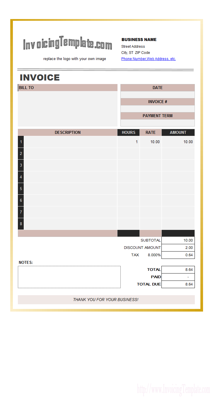 Sample Templates Baby Sitting Invoice
