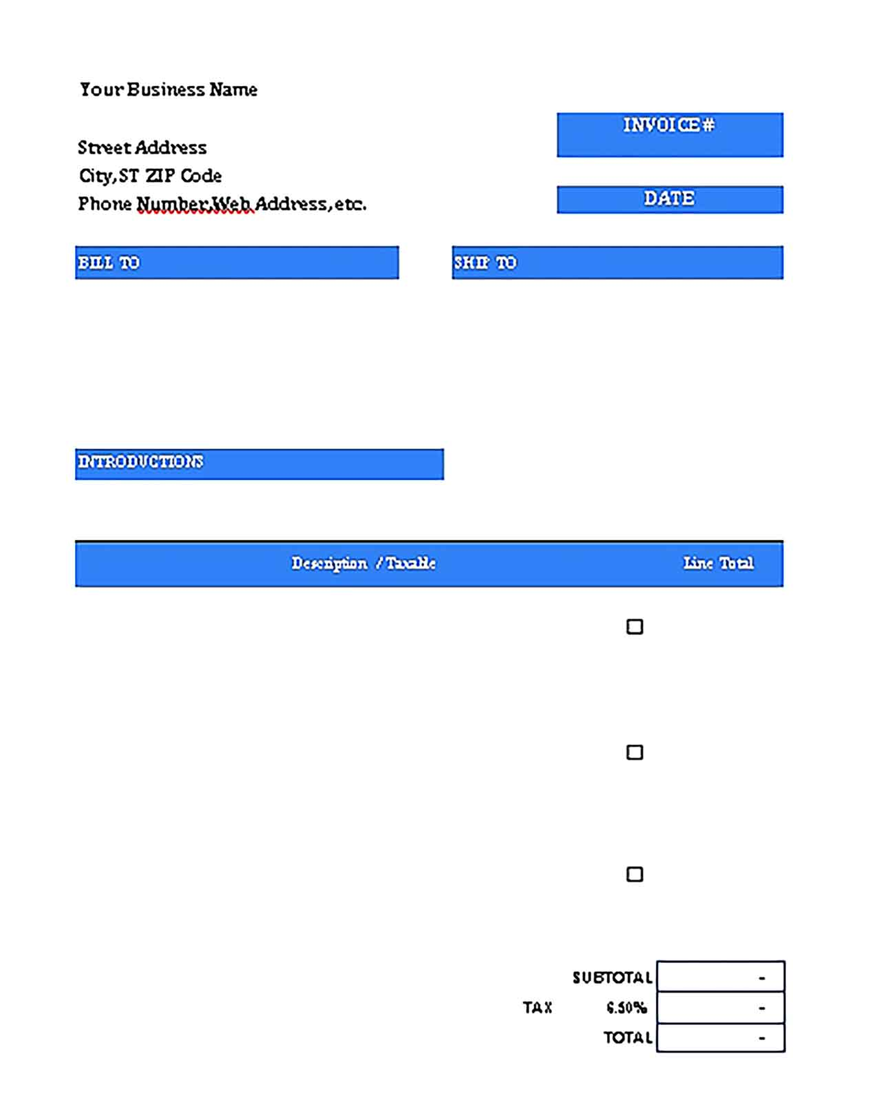 Sample Templates Blank Purchase Invoice