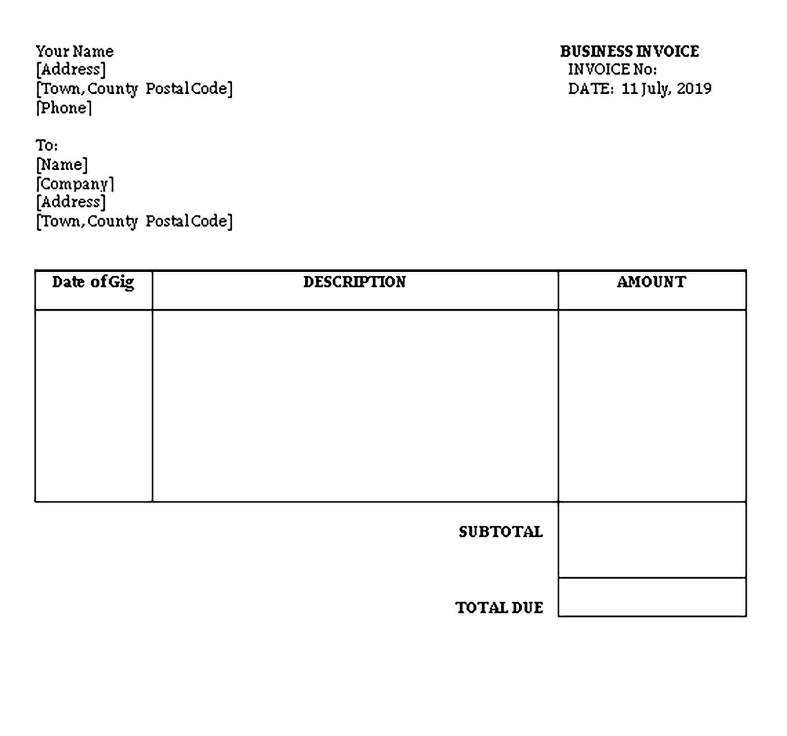 Sample Templates Business Invoice