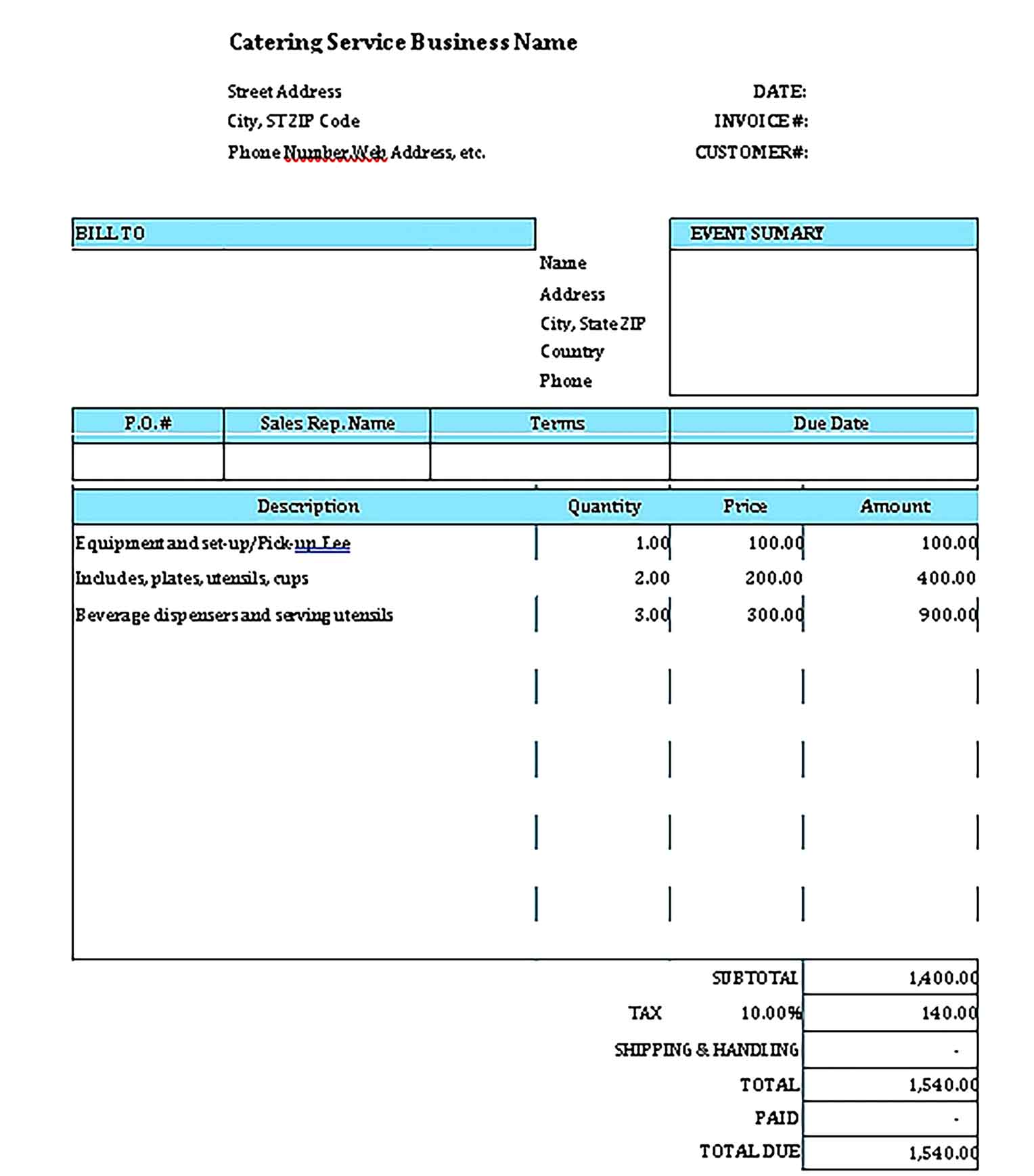 Sample Templates Catering Bill Invoice