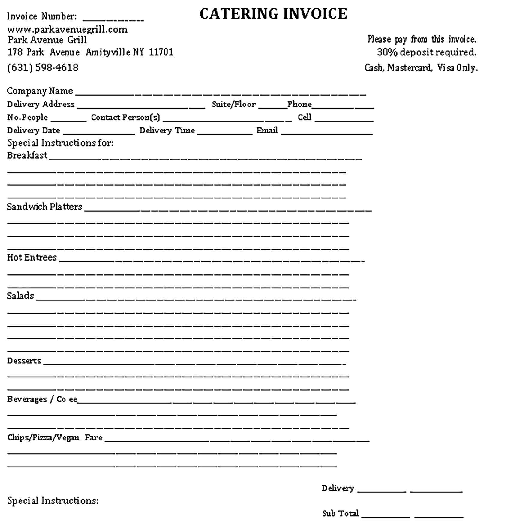 Sample Templates Catering Invoice