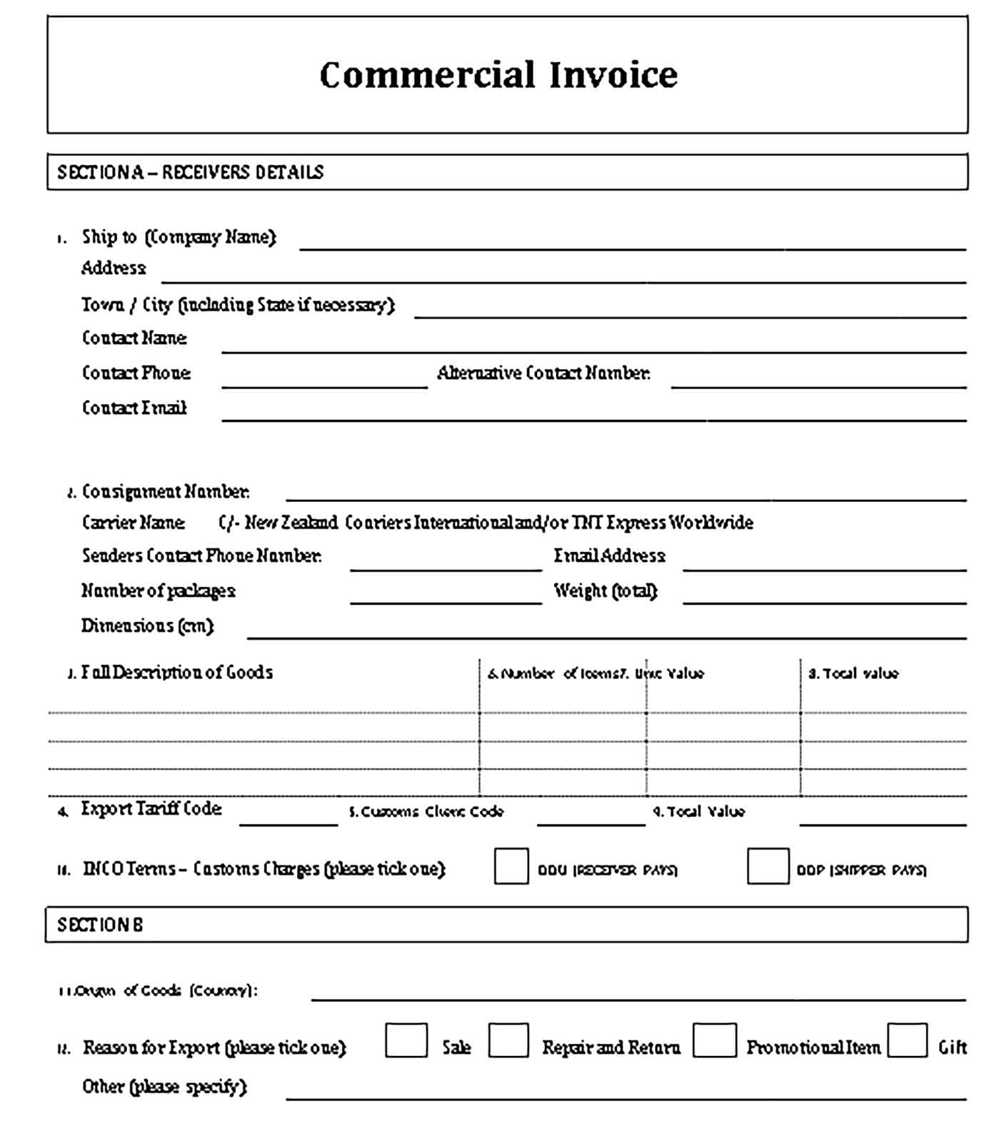 Sample Templates Commercial Courier Invoice