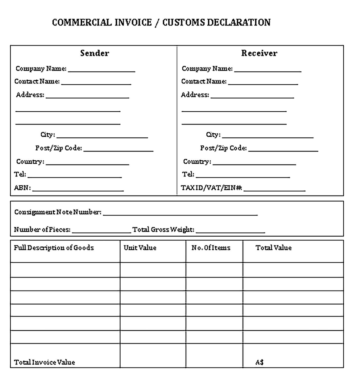 Sample Templates Commercial Invoice Custom Decleration 1