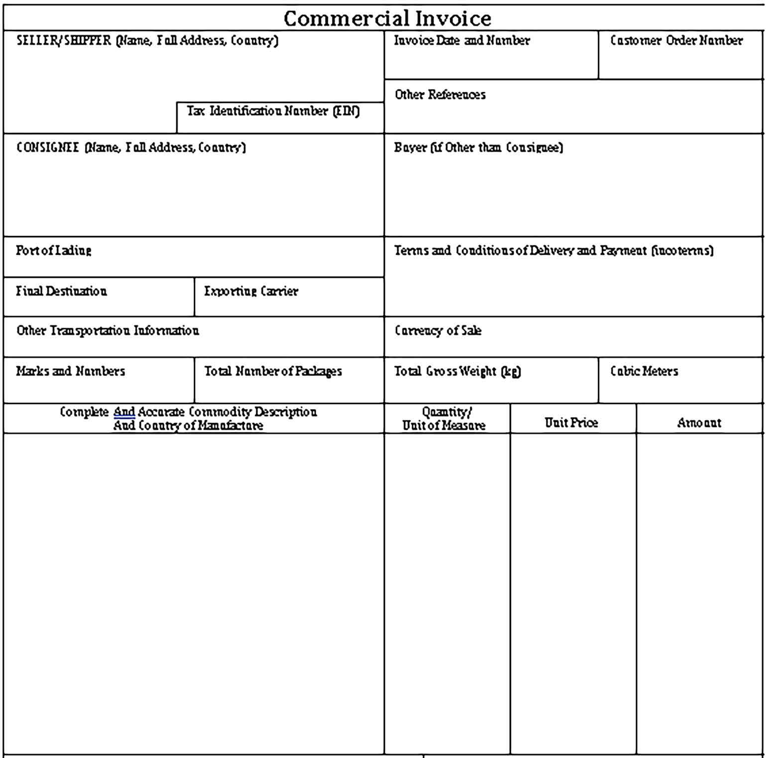 Sample Templates Commercial Seller Invoice 1 1