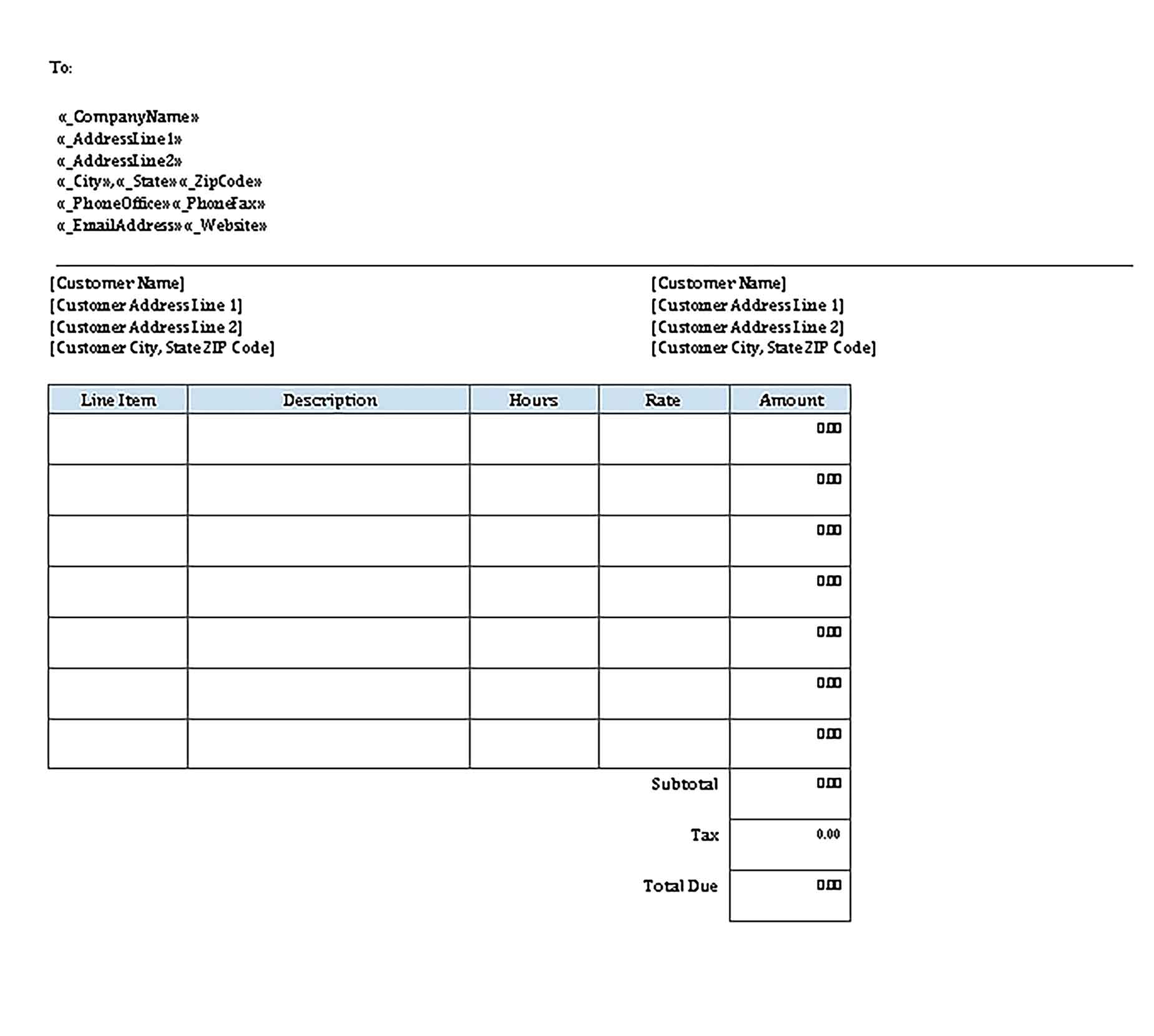 Sample Templates Hourly Invoice
