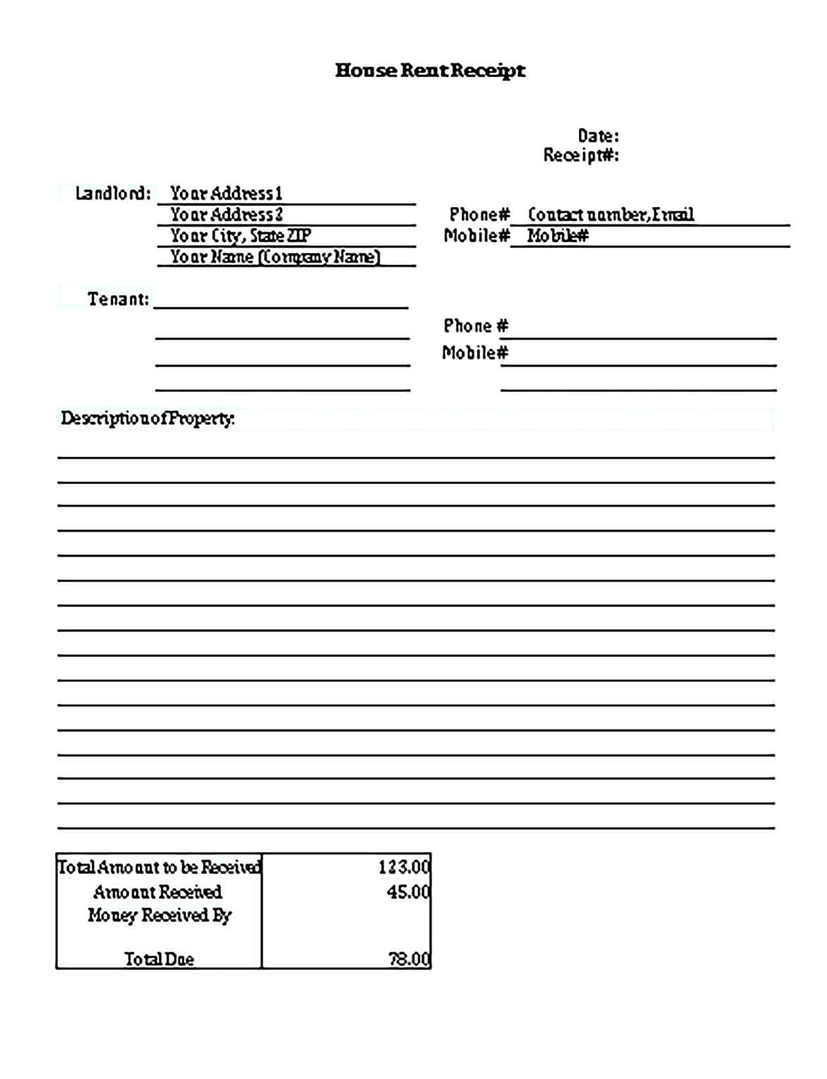 Sample Templates House Rent Invoice