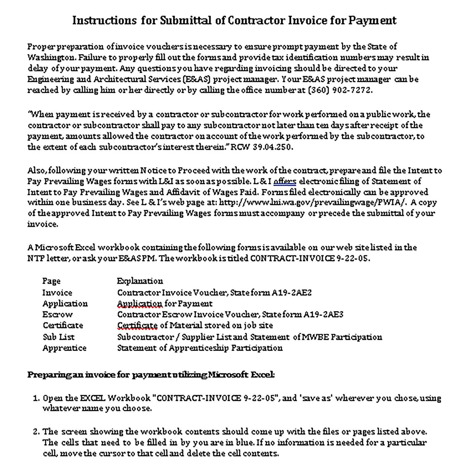 Sample Templates Invoice Instructions