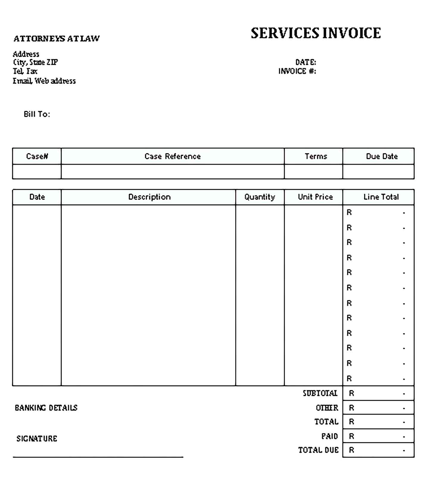 Sample Templates Invoice for Legal Services