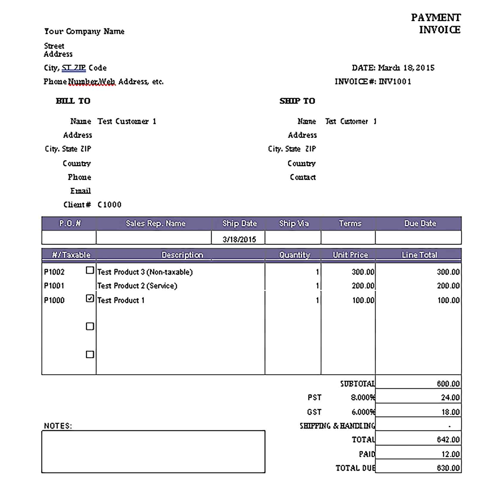 Sample Templates Partial Payment Invoice