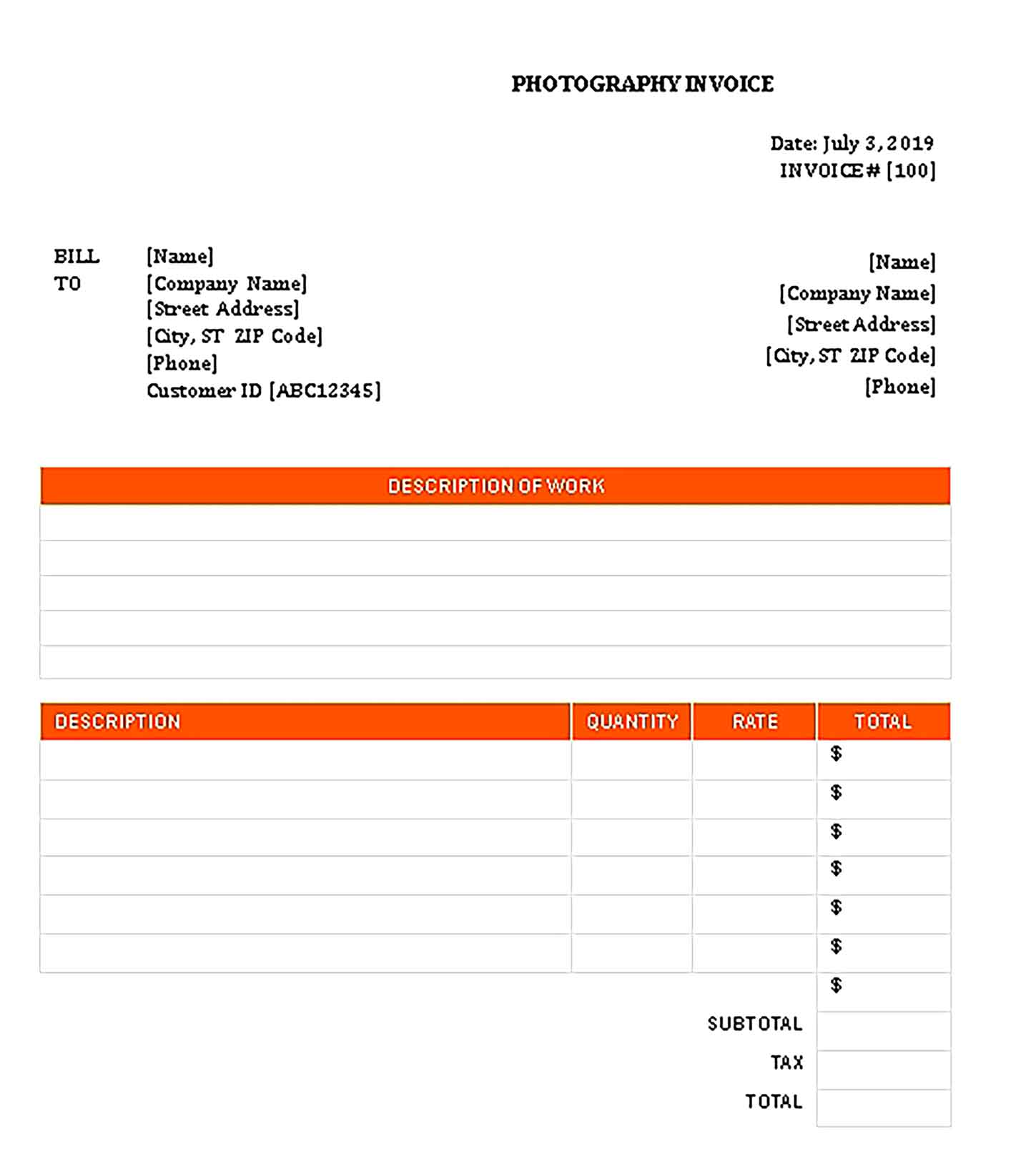 Sample Templates Photography Invoice 001