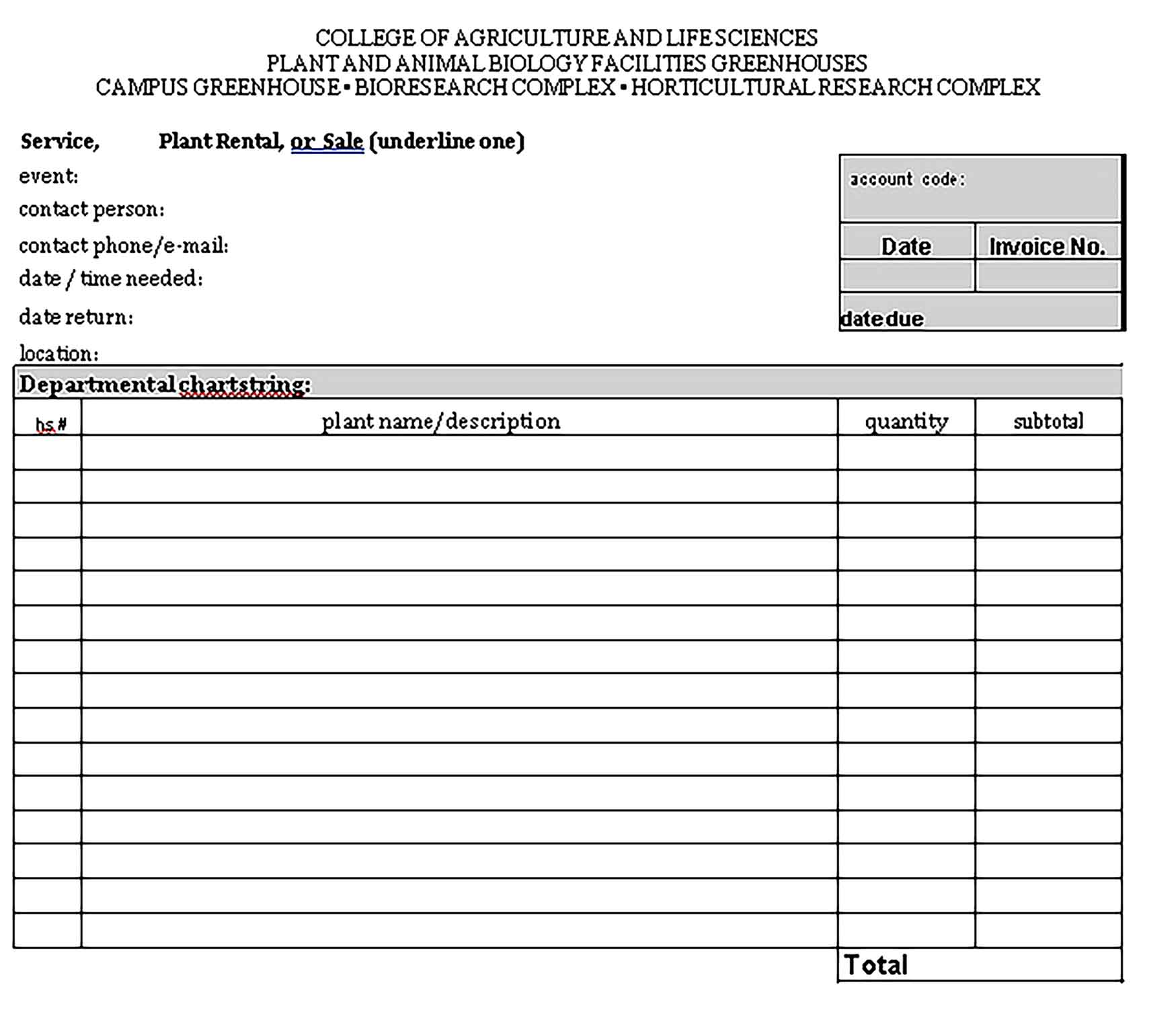 Sample Templates Plant Rental Invoice