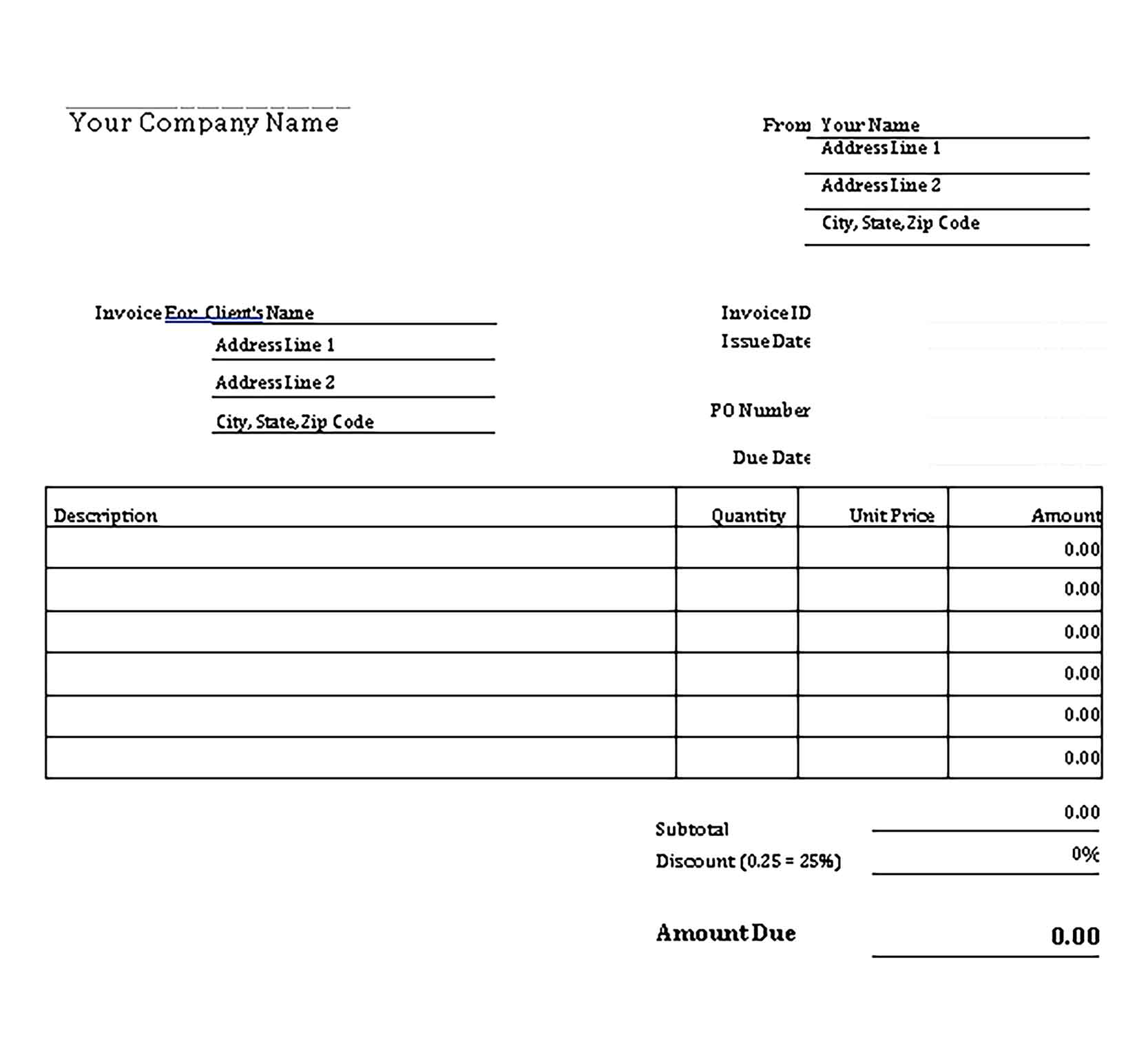 Sample Templates Professional Invoice