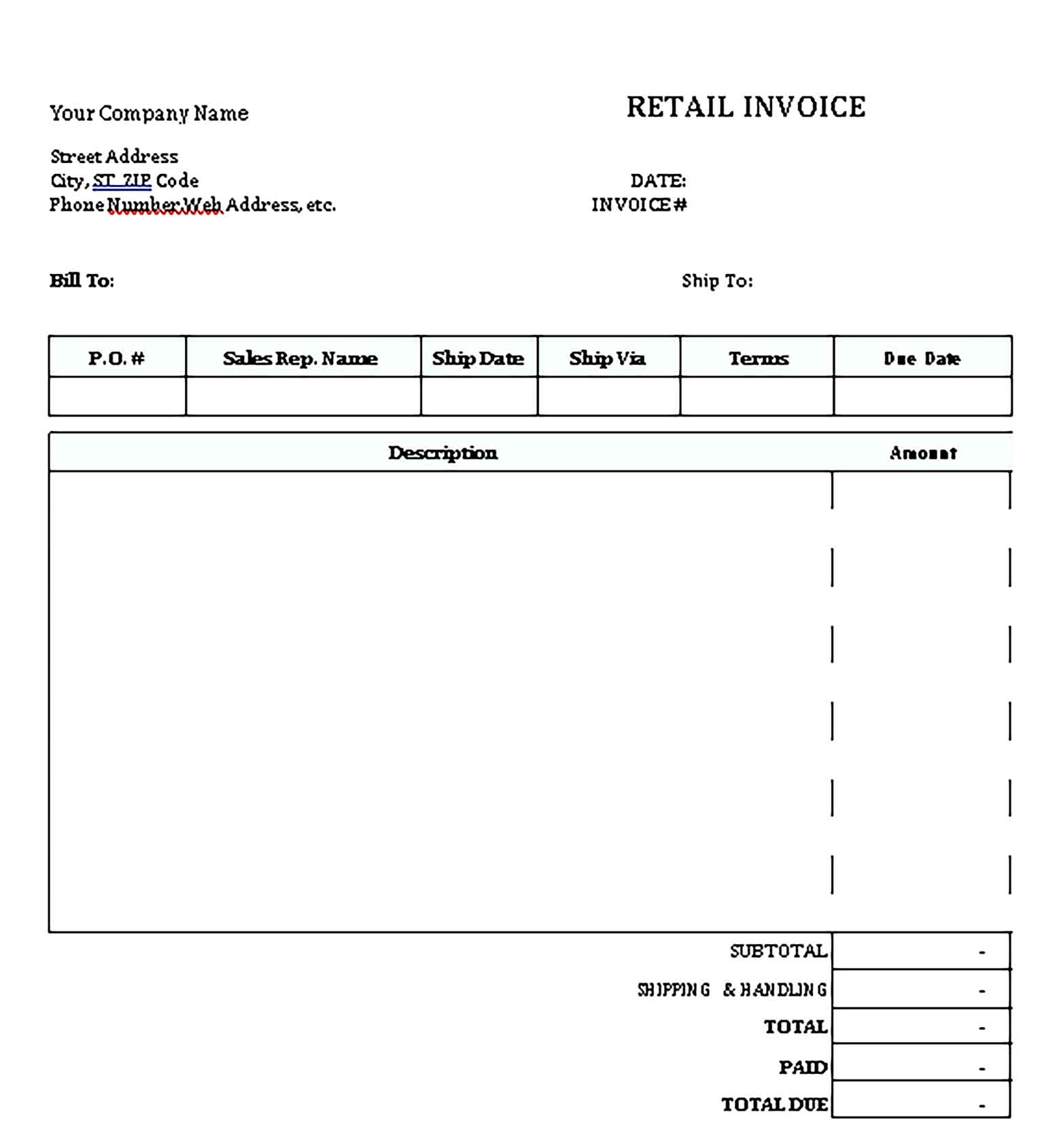 Sample Templates Reatial Invoice
