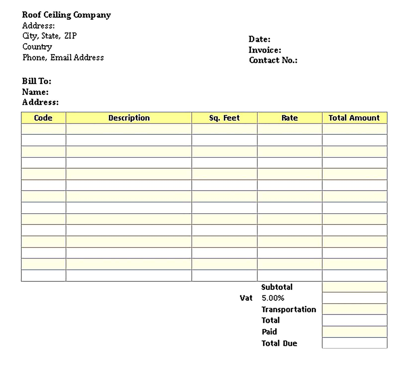 Sample Templates Roof Ceiling Invoice