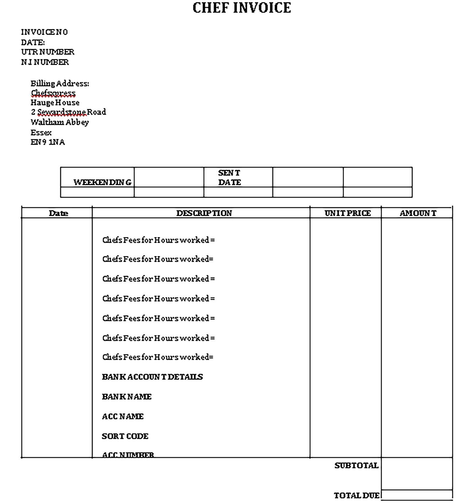 Sample Templates Self Employed Chef Invoice