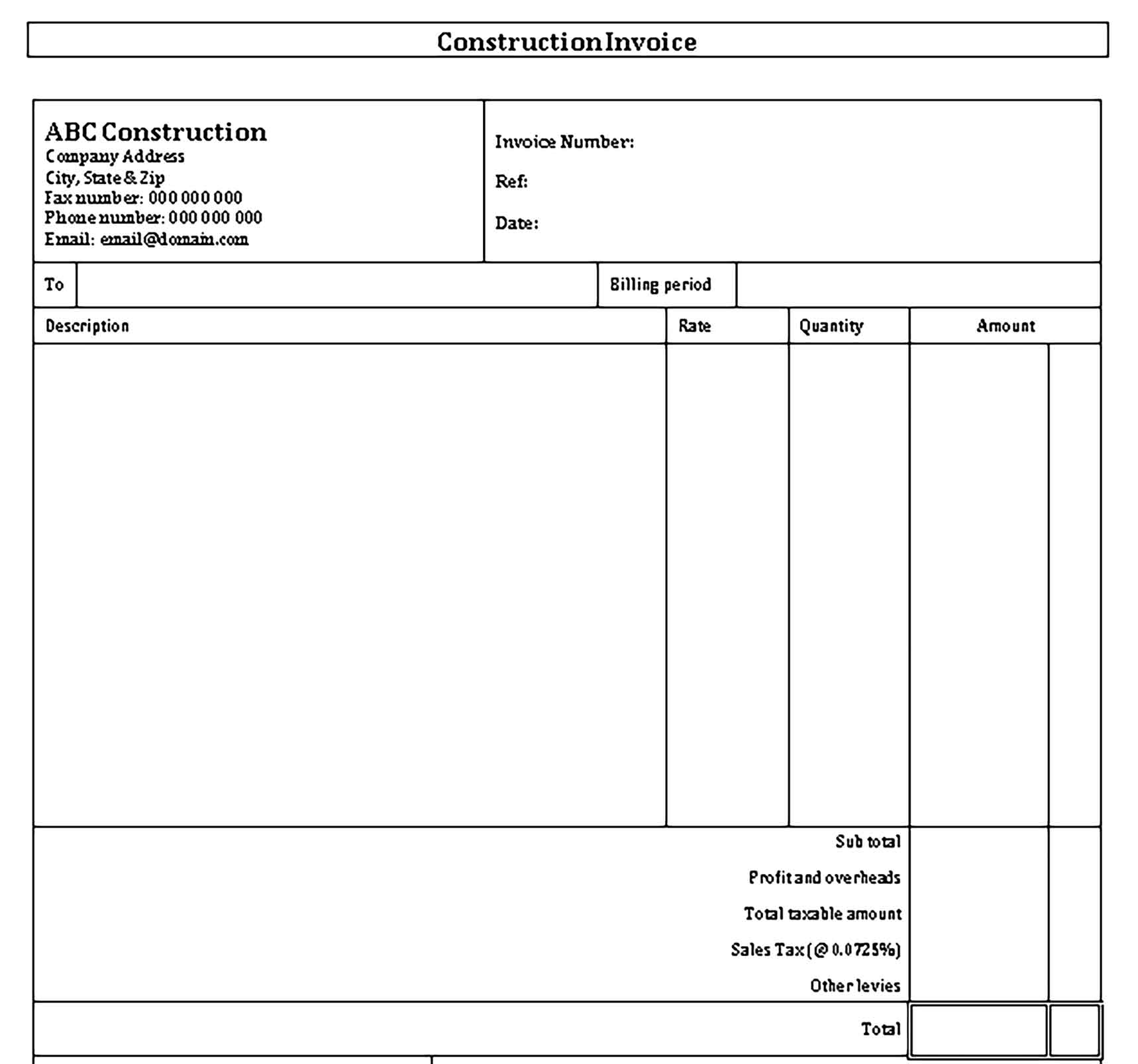 Sample Templates Self Employed Construction Invoice