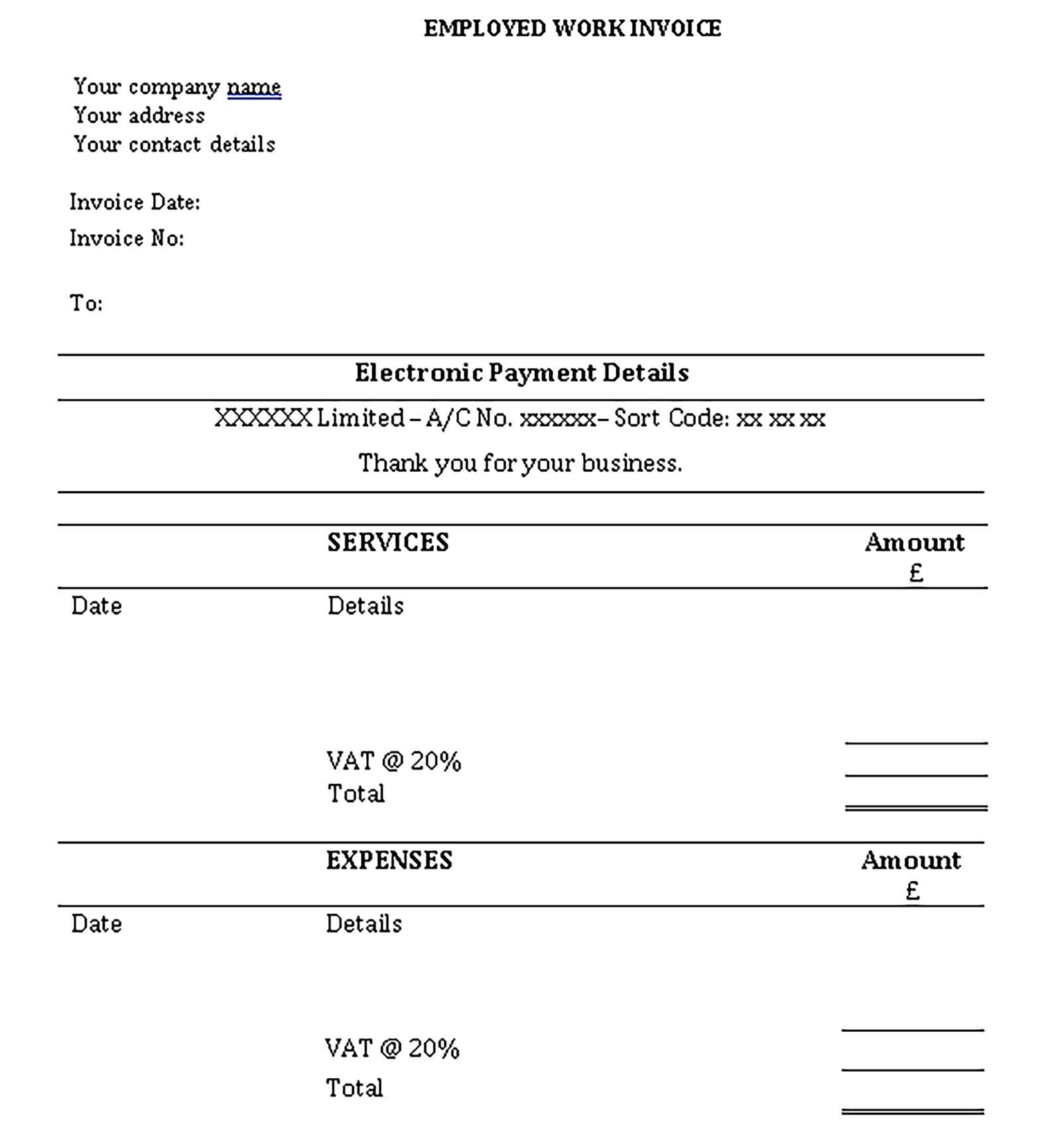 Sample Templates Self Employed Work Invoice