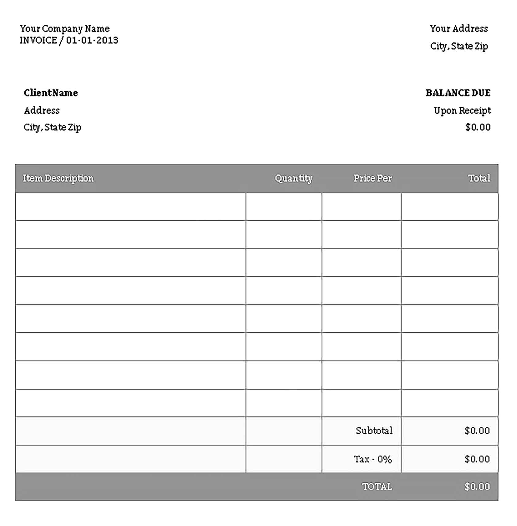 Sample Templates Small Business Invoice