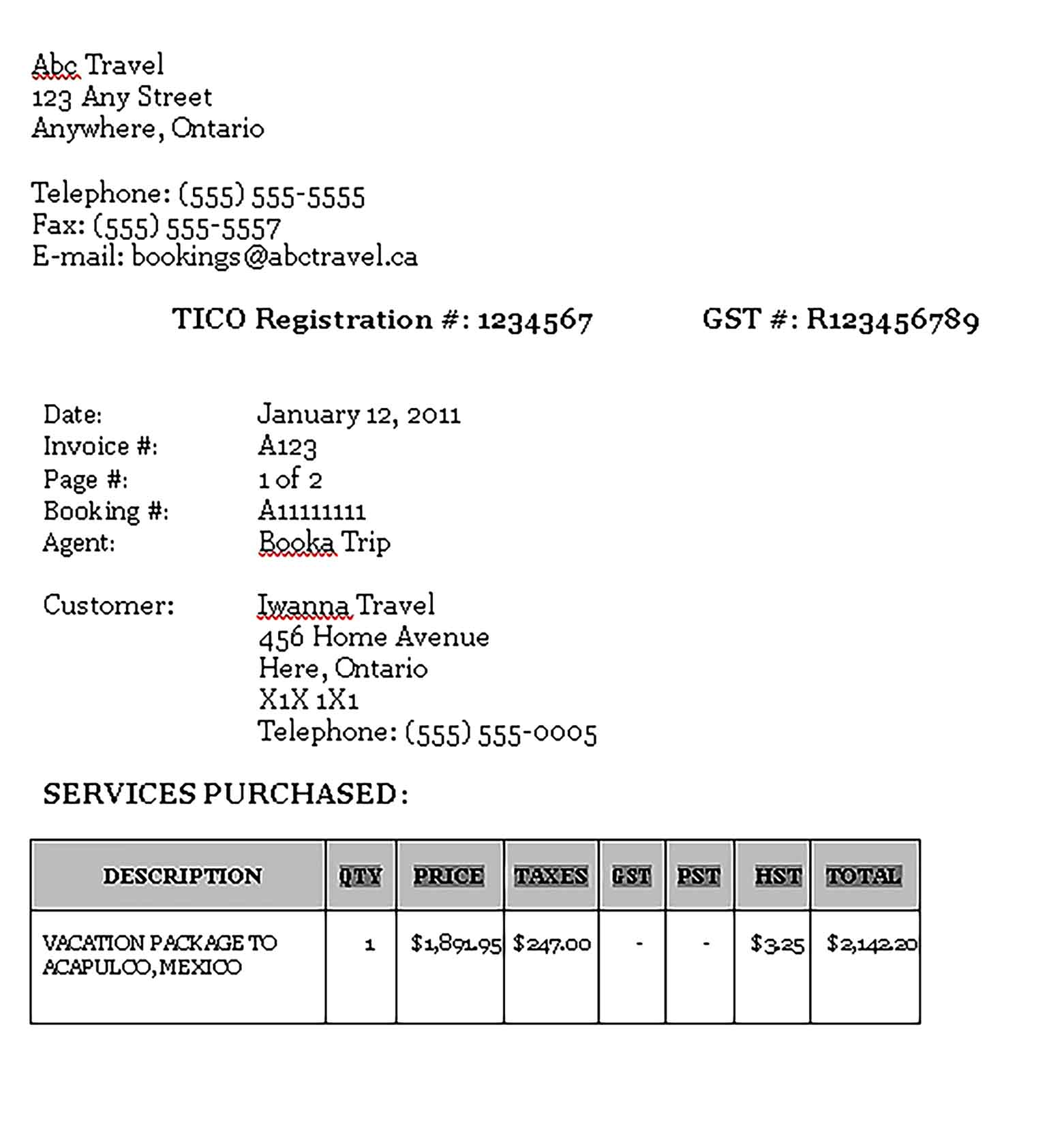 Sample Templates Travel Agent Commission Invoice