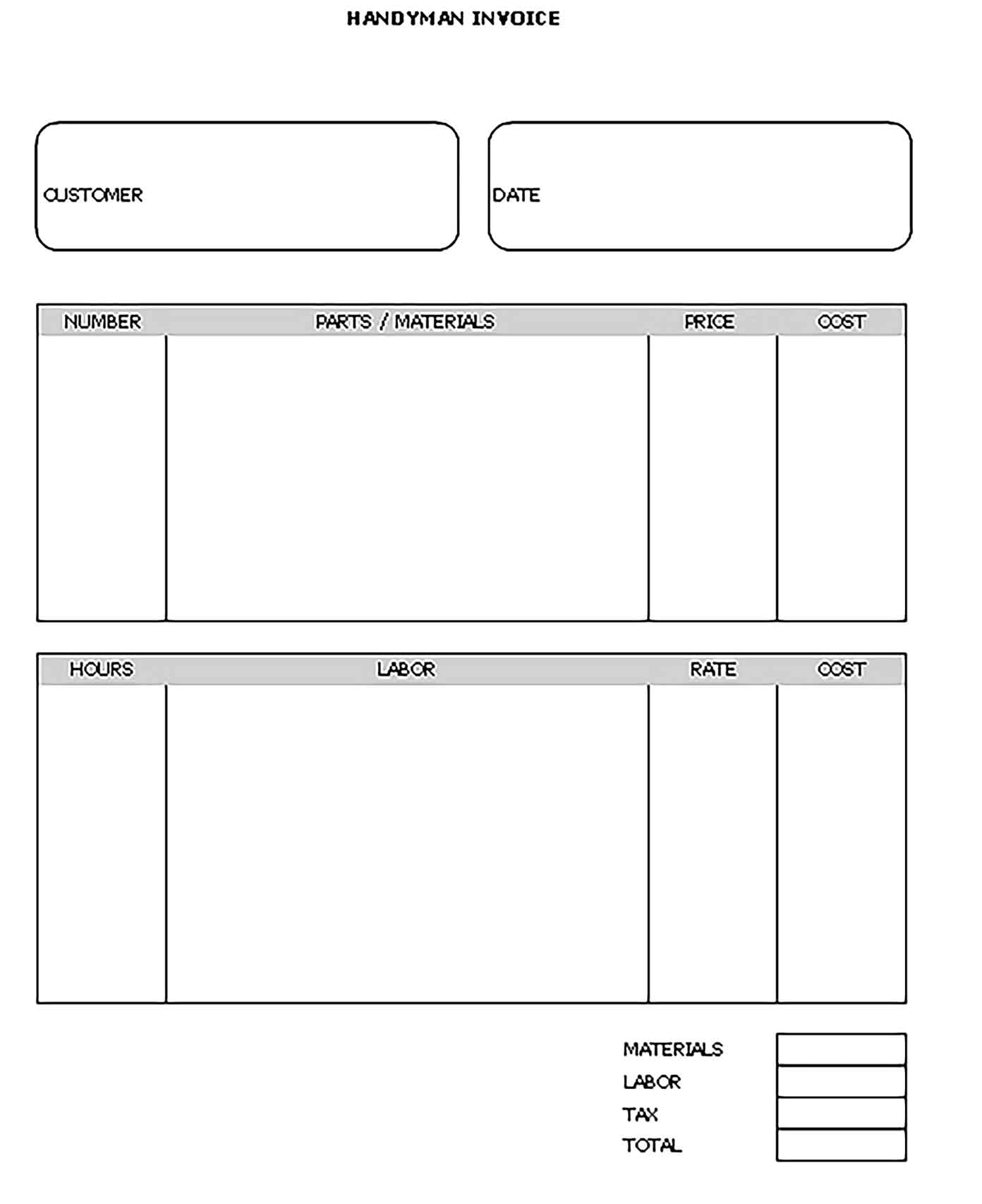 Sample Templates Work Invoice