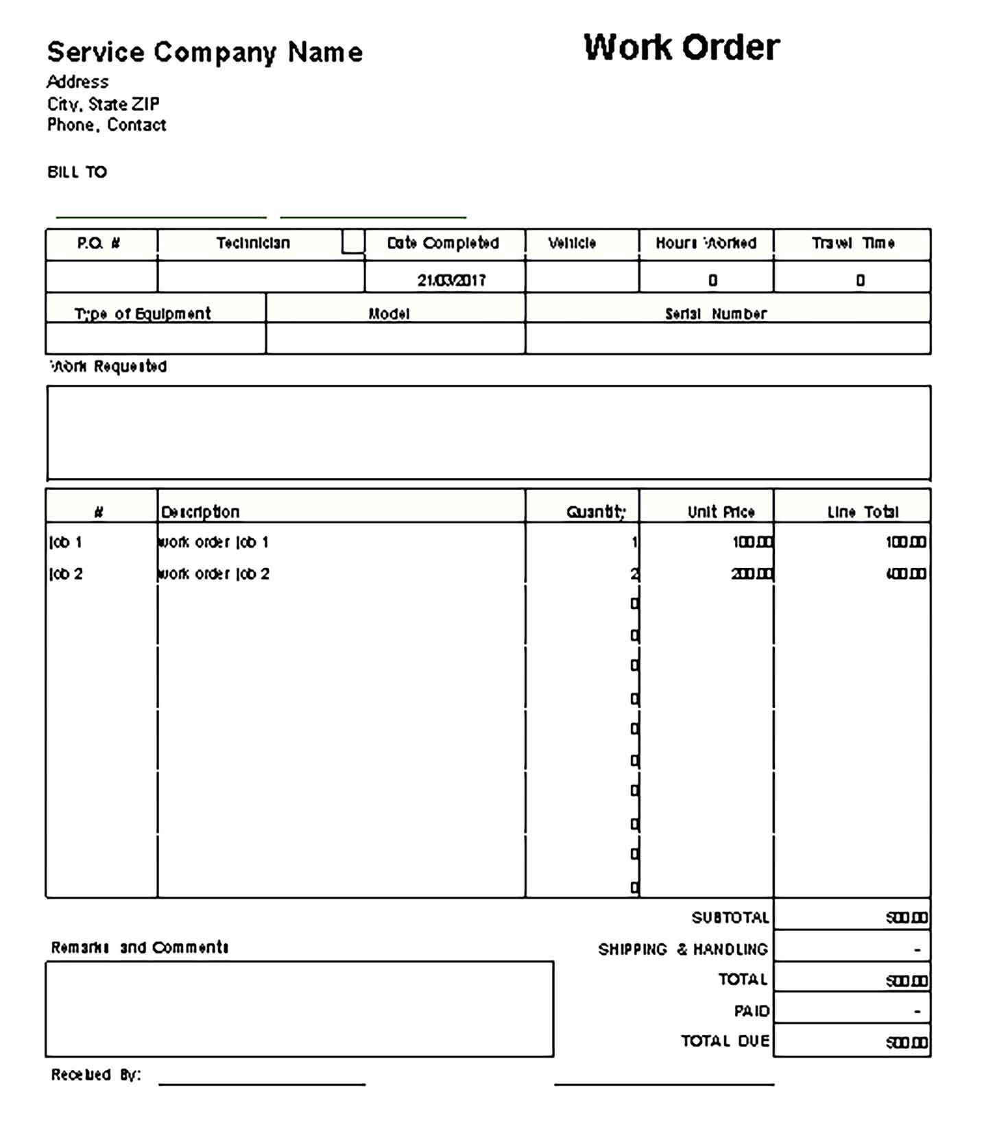 Sample Templates Work Order Invoice