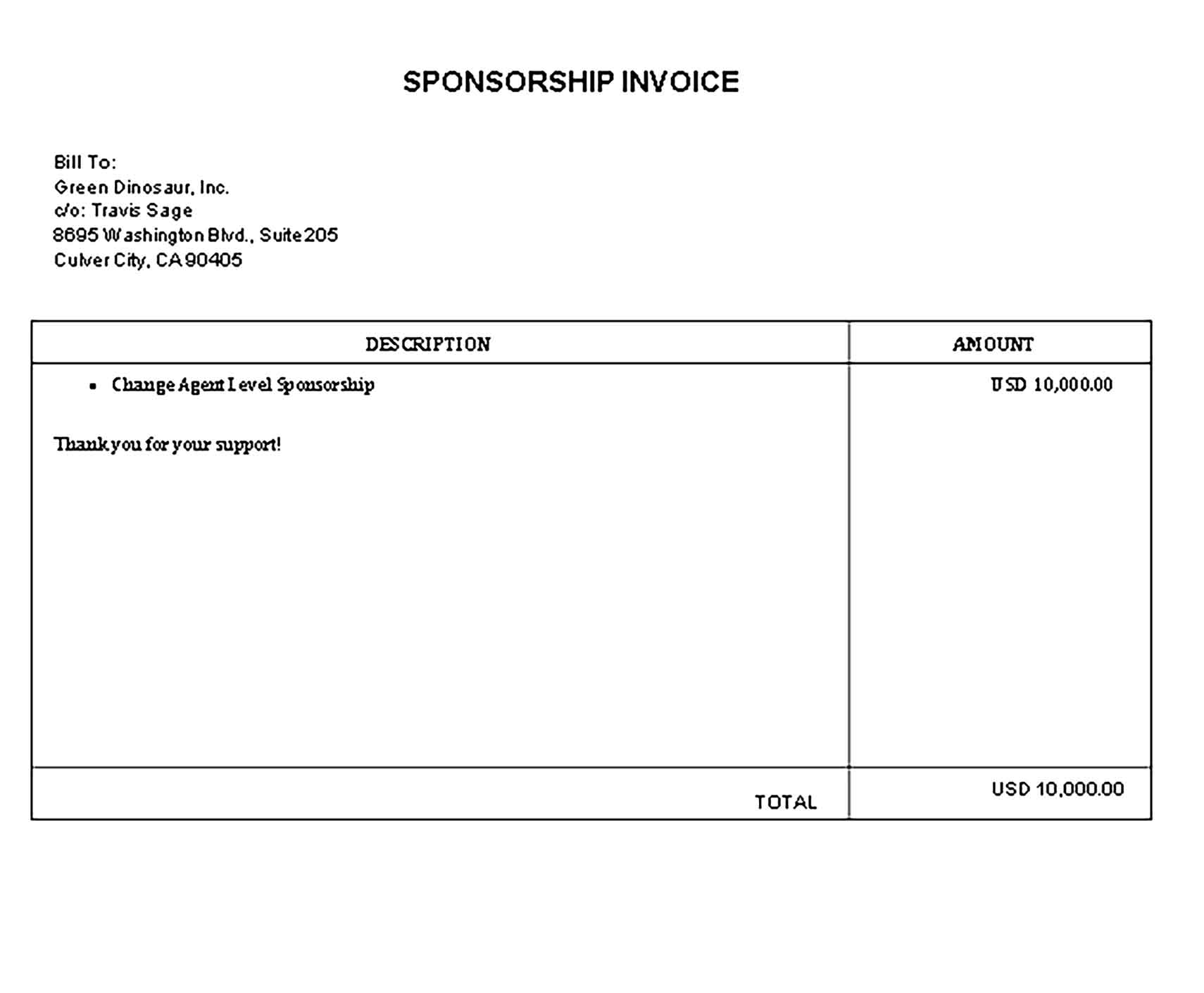 Sample Templates able Sponsorship Invoice