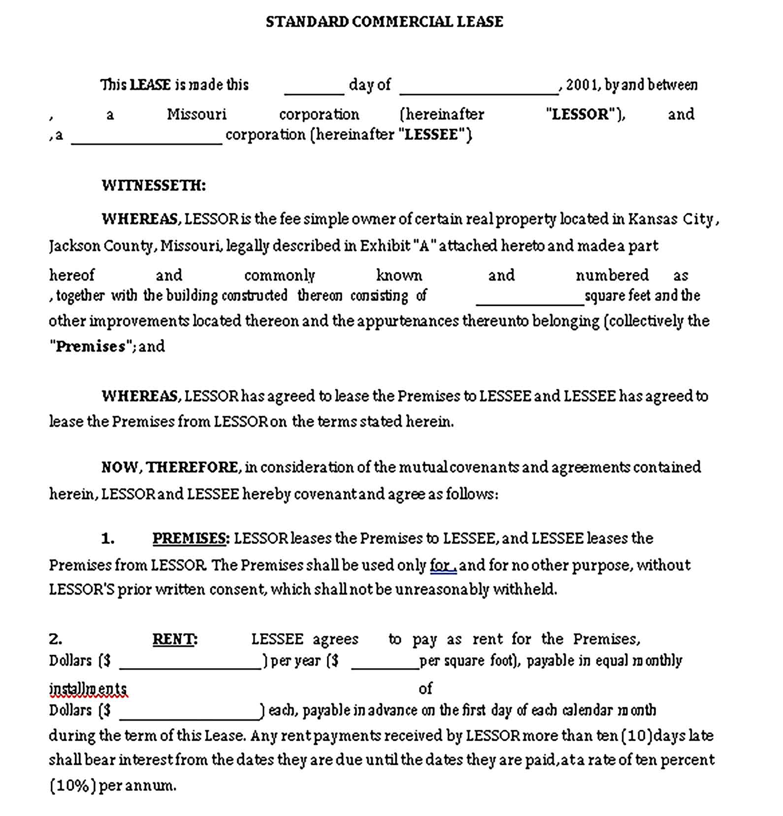 Sample Templates commercial lease invoice