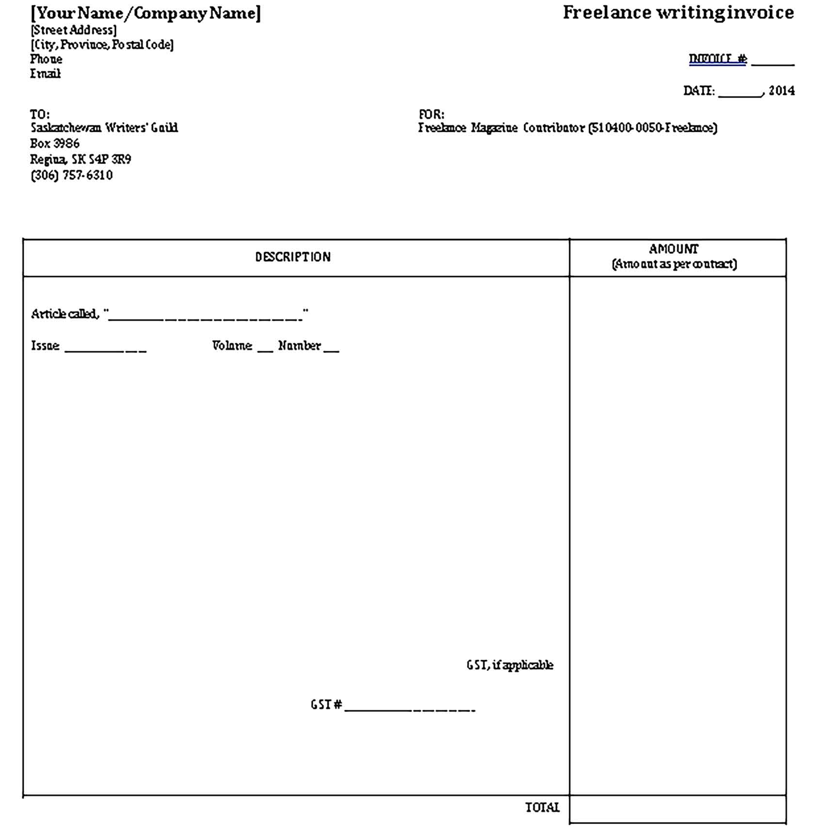 Sample Templates freelance writing invoice